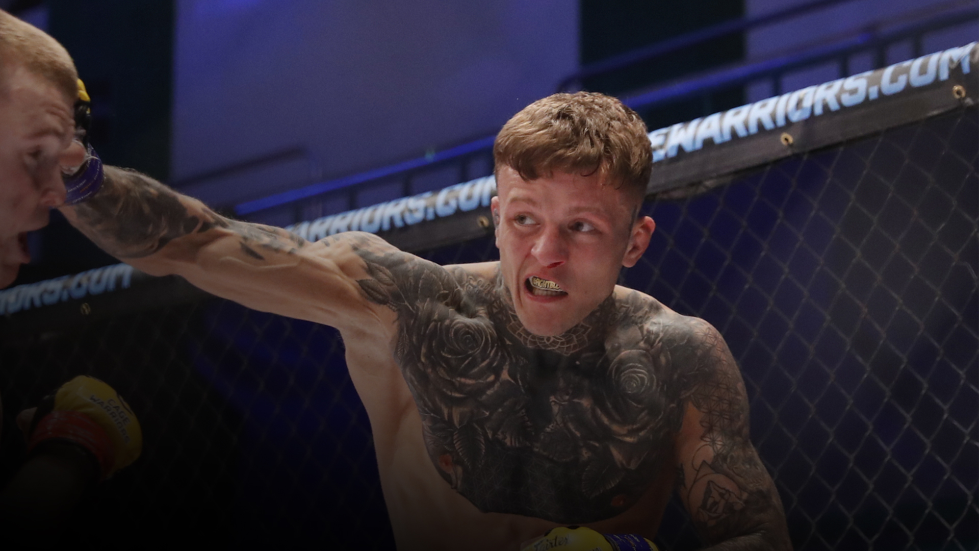 Jordan Lucenic punches an opponent during a fight in the Cage Warriors promotion.