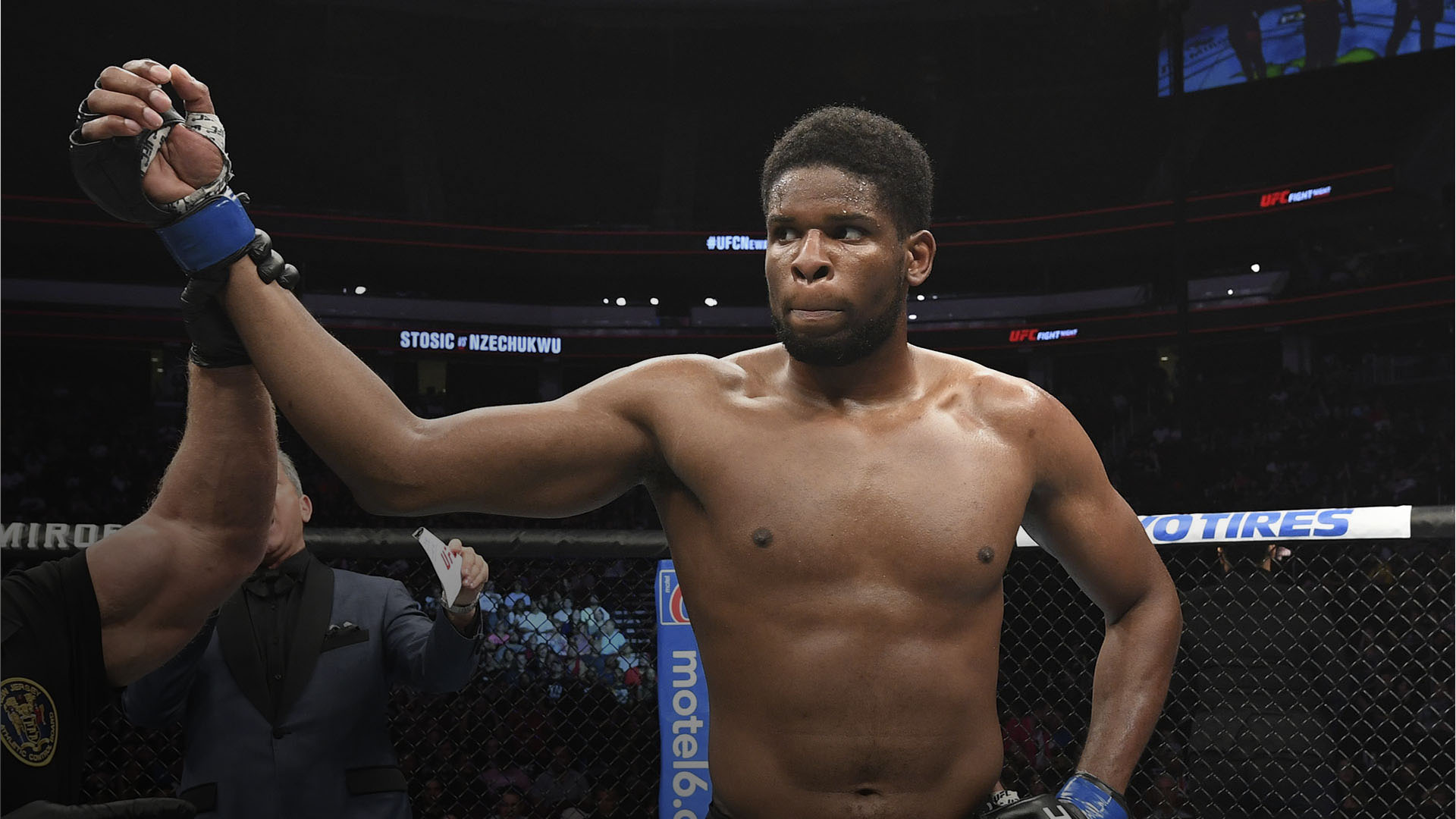 Kennedy Nzechukwu celebrates his victory over Darko Stosic of Serbia in their light heavyweight bout during the UFC Fight Night event at the Prudential Center on August 3, 2019 in Newark, New Jersey. (Photo by Josh Hedges/Zuffa LLC)