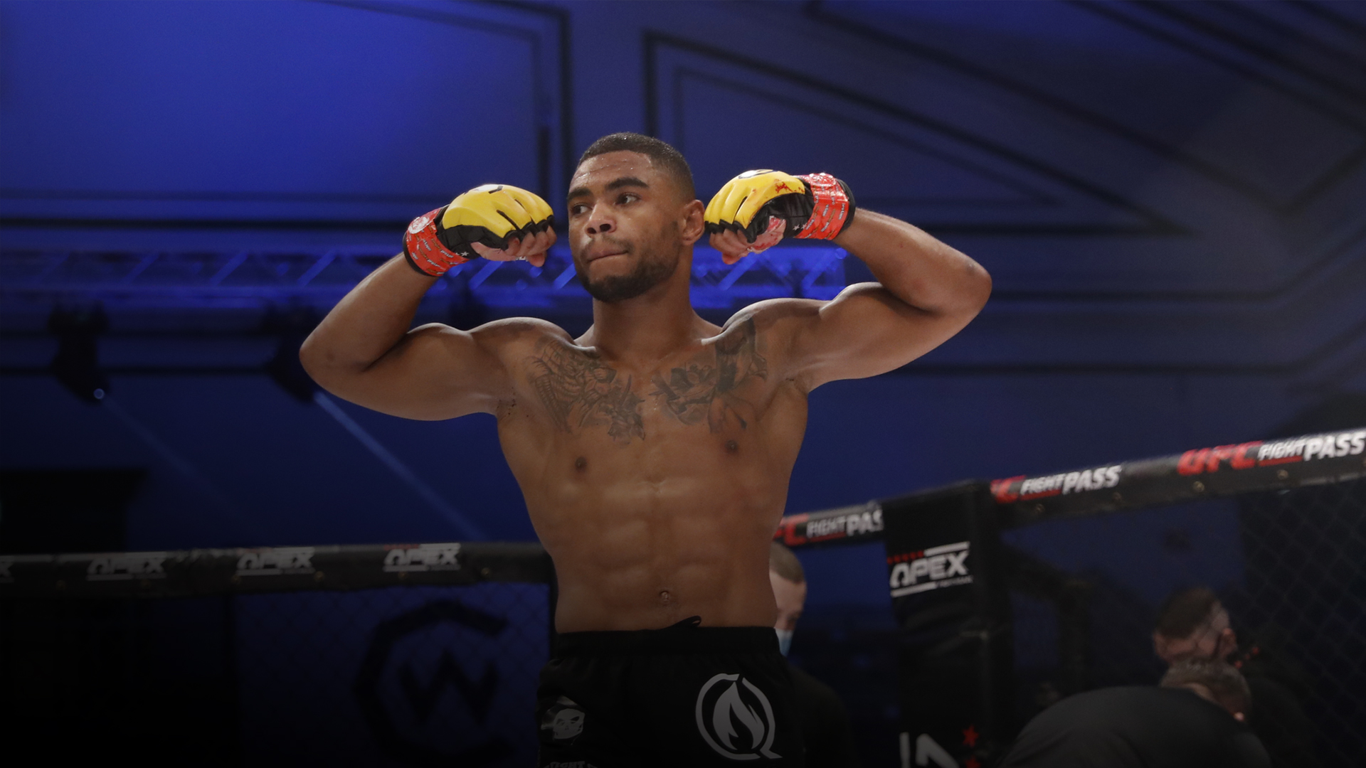 Morgan Charriere poses after a victory in Cage Warriors