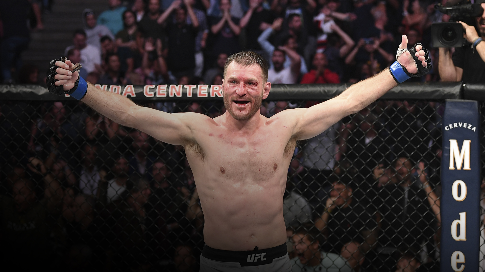 Stipe Miocic celebrates his TKO victory over Daniel Cormier in their heavyweight championship bout during the UFC 241 event at the Honda Center on August 17, 2019 in Anaheim, California. (Photo by Josh Hedges/Zuffa LLC)