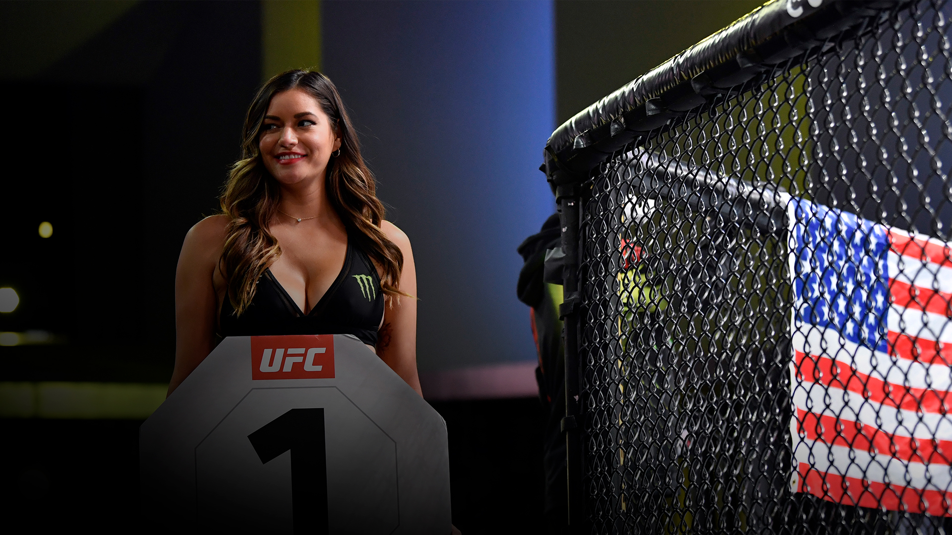 UFC Octagon Girl Vanessa Hanson introduces a round during the UFC Fight Night event at UFC APEX on October 31, 2020 in Las Vegas, Nevada. (Photo by Jeff Bottari/Zuffa LLC)