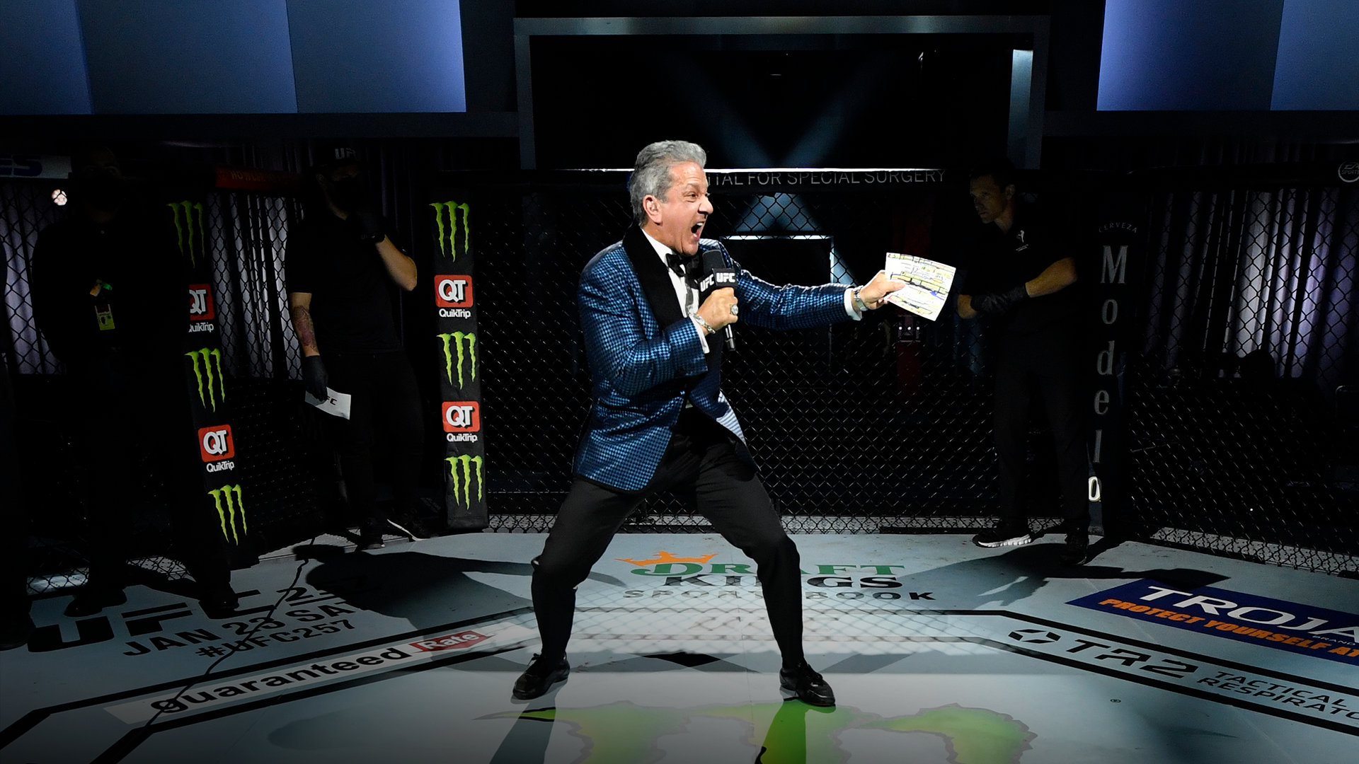 Octagon Announcer Bruce Buffer introduces the flyweight championship bout during the UFC 256 event at UFC APEX on December 12, 2020 in Las Vegas, Nevada. (Photo by Jeff Bottari/Zuffa LLC)