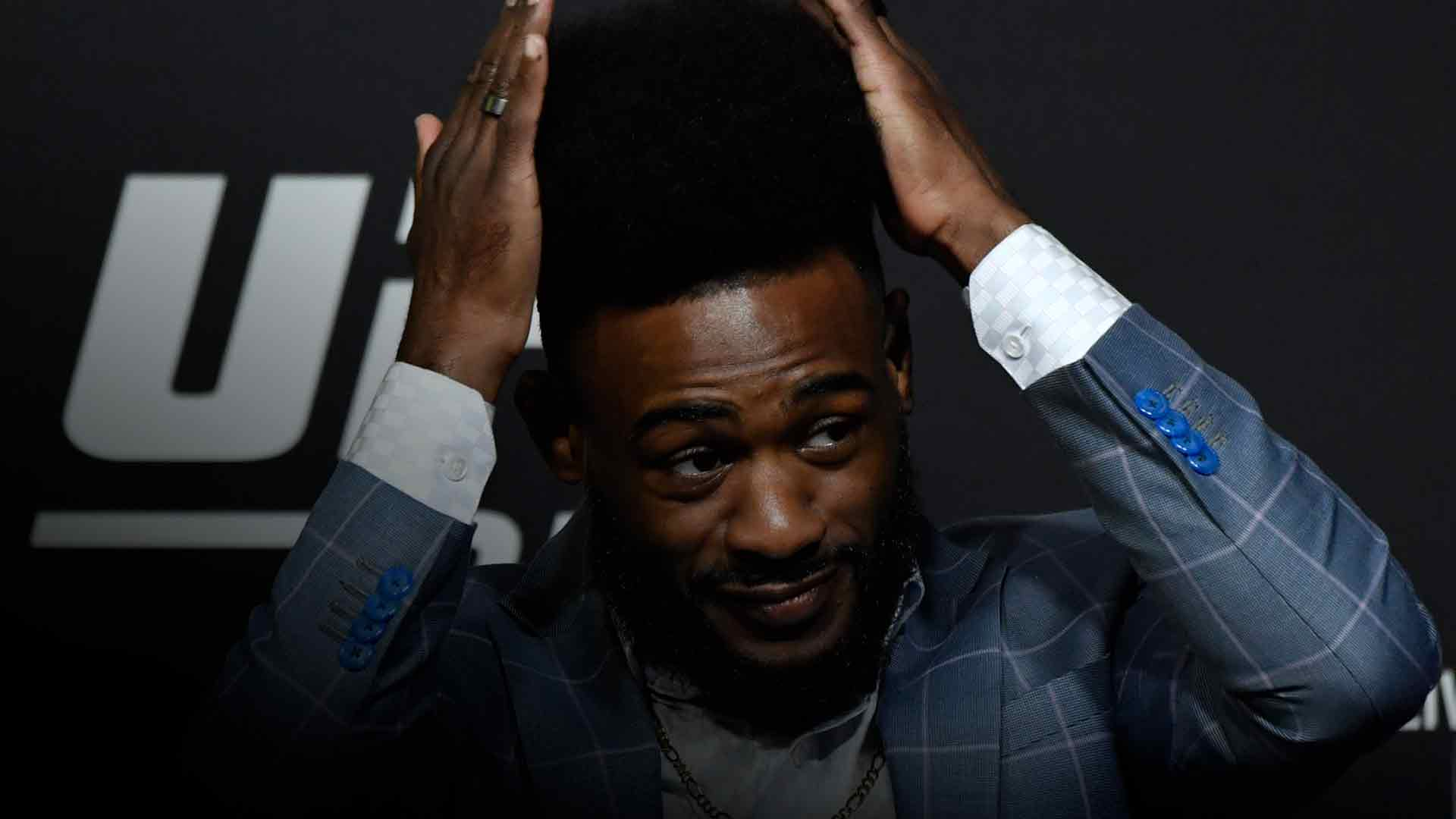 Aljamain Sterling interacts with media during the UFC 259 press conference at UFC APEX on March 04, 2021 in Las Vegas, Nevada. (Photo by Jeff Bottari/Zuffa LLC)