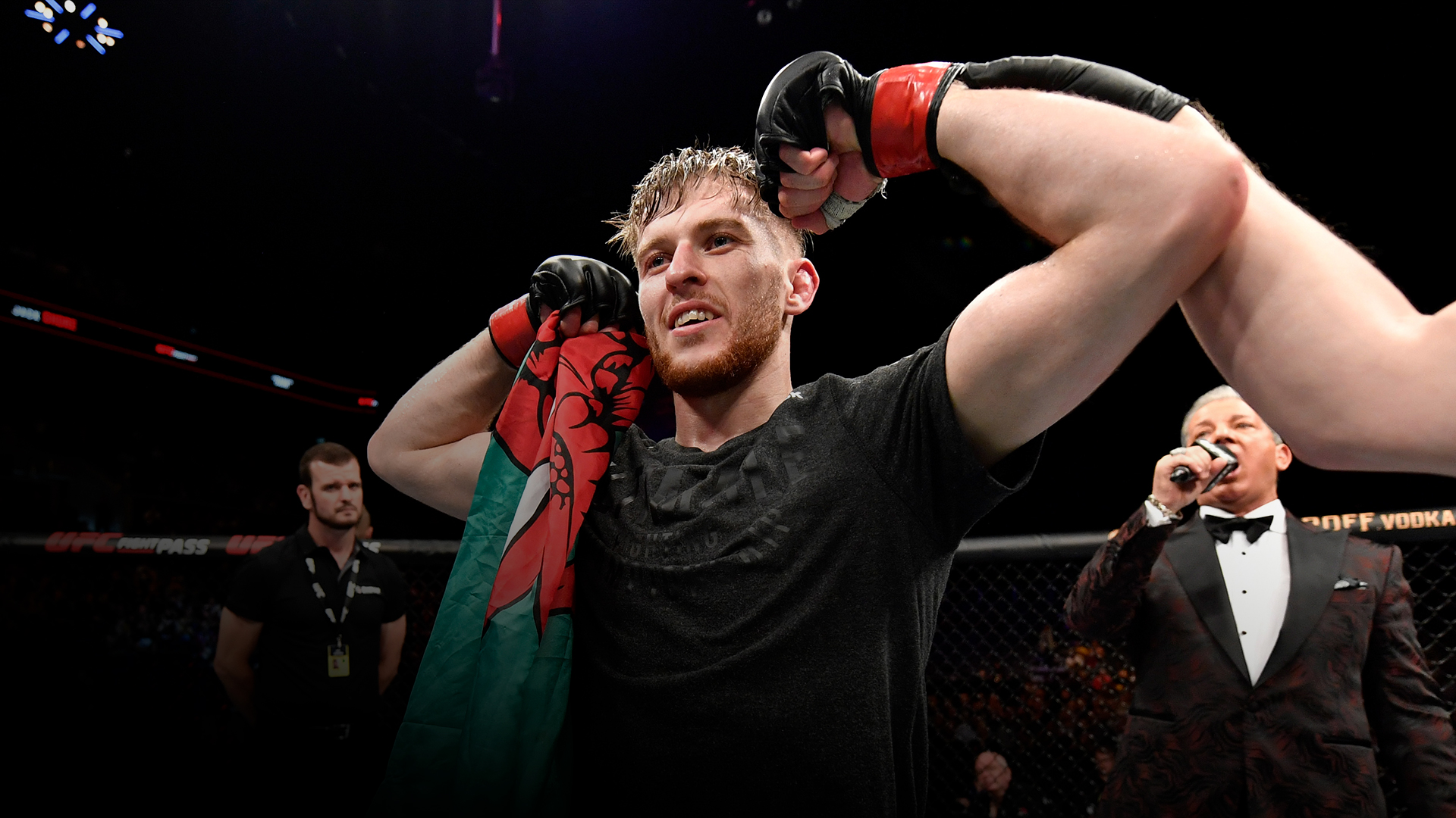 Jack Shore of Wales celebrates his submission victory over Nohelin Hernandez in their bantamweight bout during the UFC Fight Night event at Royal Arena on September 28, 2019 in Copenhagen, Denmark. (Photo by Jeff Bottari/Zuffa LLC)