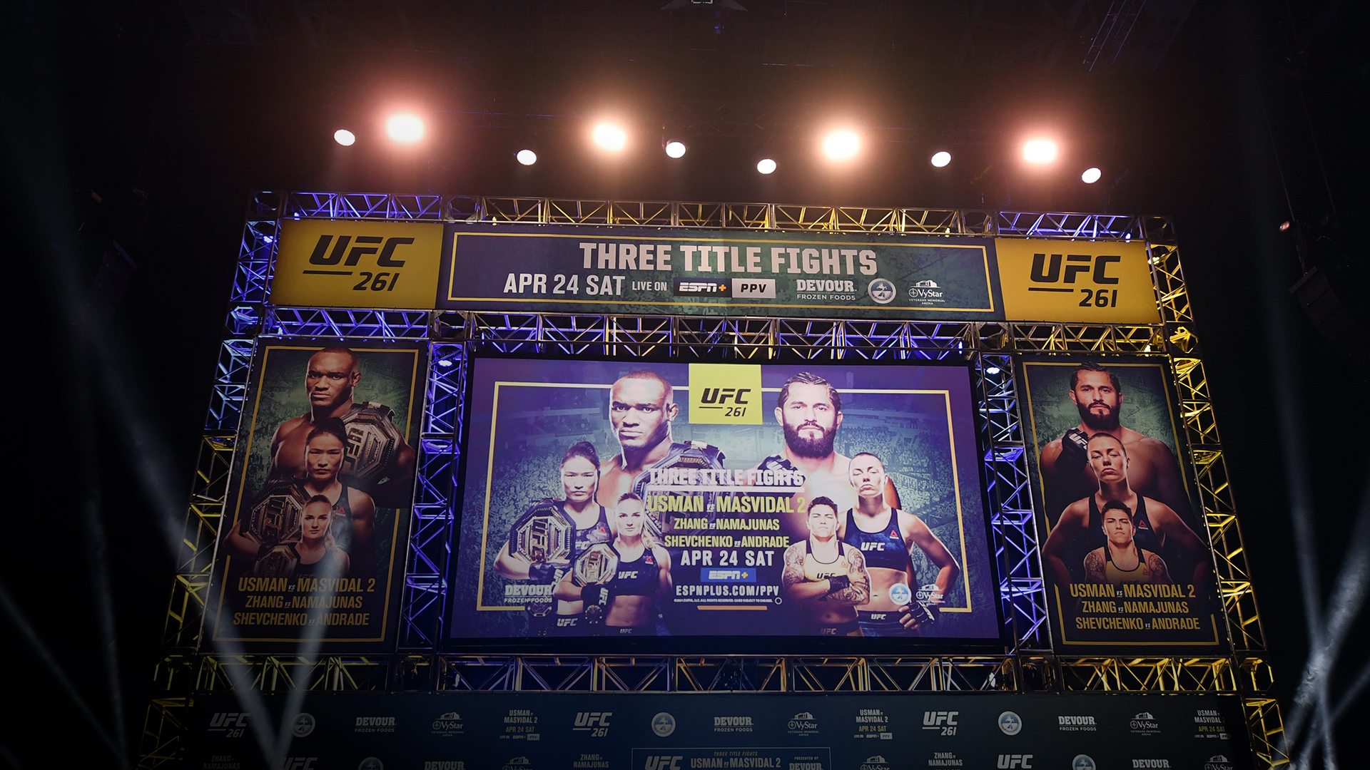 A general view of the stage prior to the UFC 261 press conference at VyStar Veterans Memorial Arena on April 22, 2021 in Jacksonville, Florida. (Photo by Josh Hedges/Zuffa LLC)