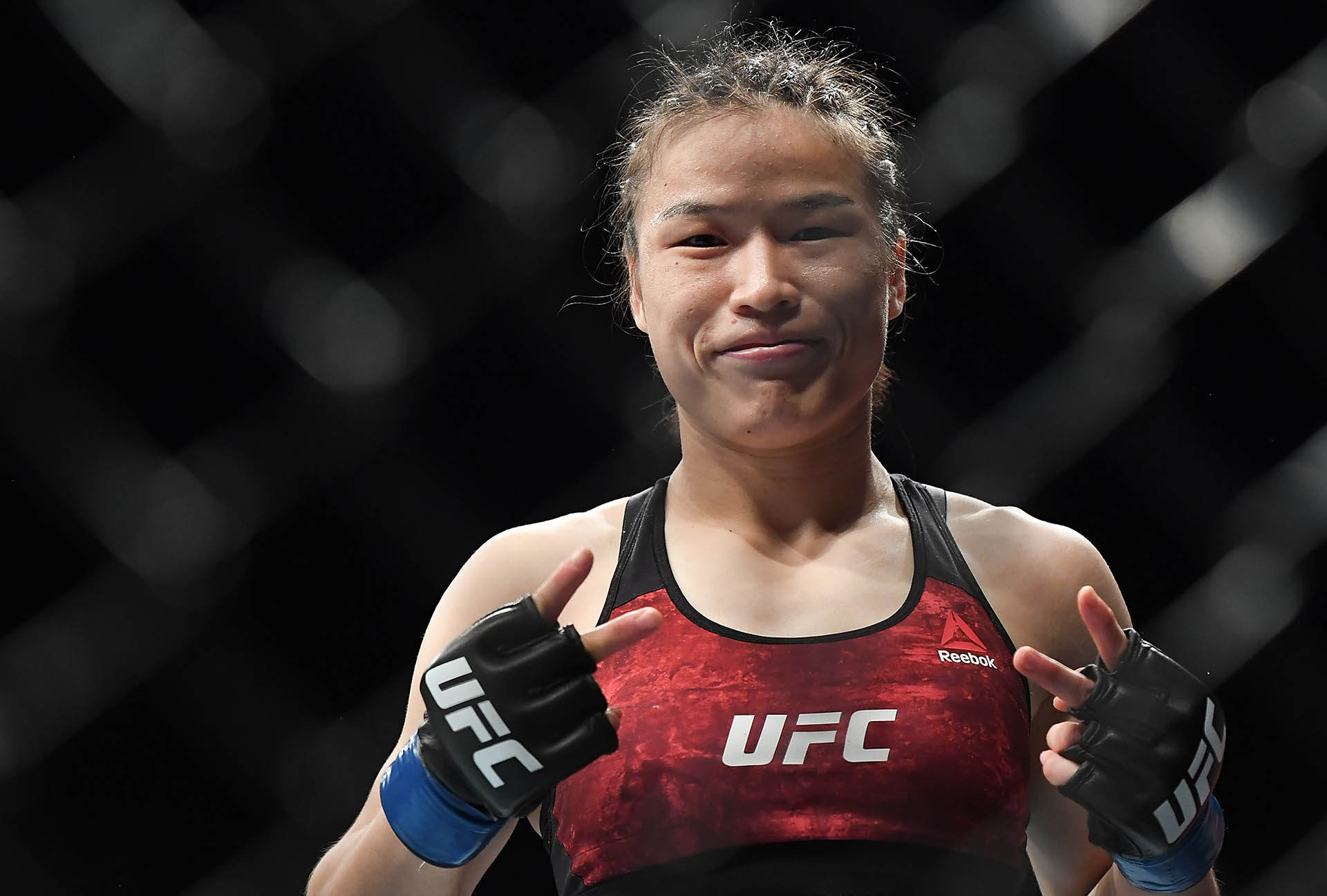 Zhang Weili of China prepares to fight Jessica Andrade of Brazil in their UFC strawweight championship bout during the UFC Fight Night event at Shenzhen Universiade Sports Centre on August 31, 2019 in Shenzhen, China. (Photo by Zhe Ji/Getty Images)