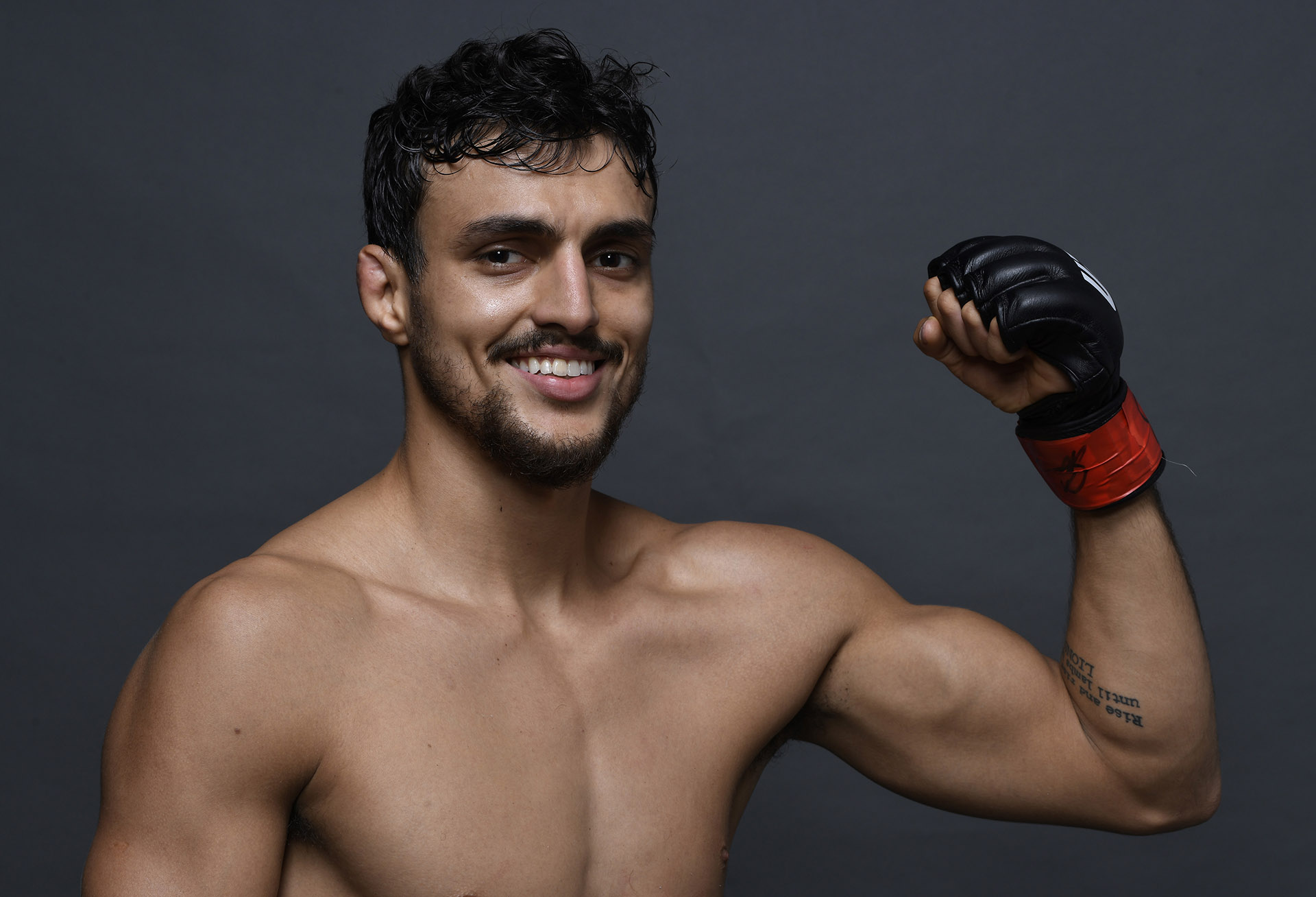 Ricardo Ramos of Brazil poses for a portrait backstage after his victory during the UFC Fight Night event at Ibirapuera Gymnasium on November 16, 2019 in Sao Paulo, Brazil. (Photo by Mike Roach/Zuffa LLC)