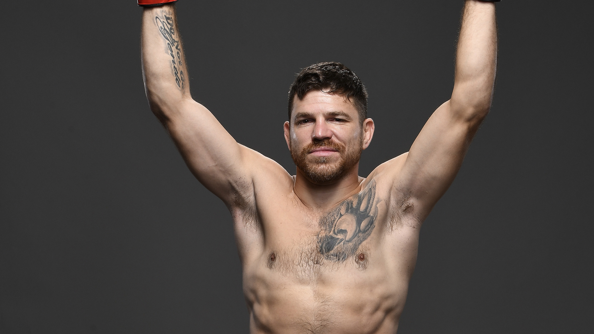 Jim Miller poses for a portrait backstage during the UFC Fight Night event at the Prudential Center on August 3, 2019 in Newark, New Jersey. (Photo by Mike Roach/Zuffa LLC)
