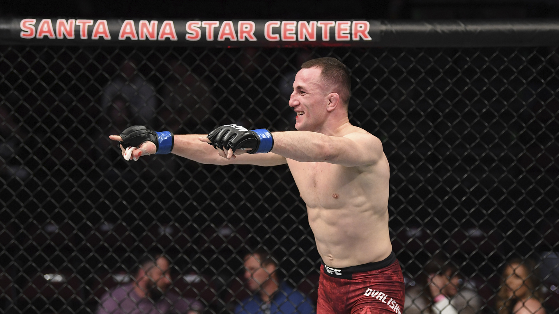Merab Dvalishvili of Georgia reacts after the conclusion of his bantamweight bout against Casey Kenney during the UFC Fight Night event at Santa Ana Star Center on February 15, 2020 in Rio Rancho, New Mexico. (Photo by Josh Hedges/Zuffa LLC)