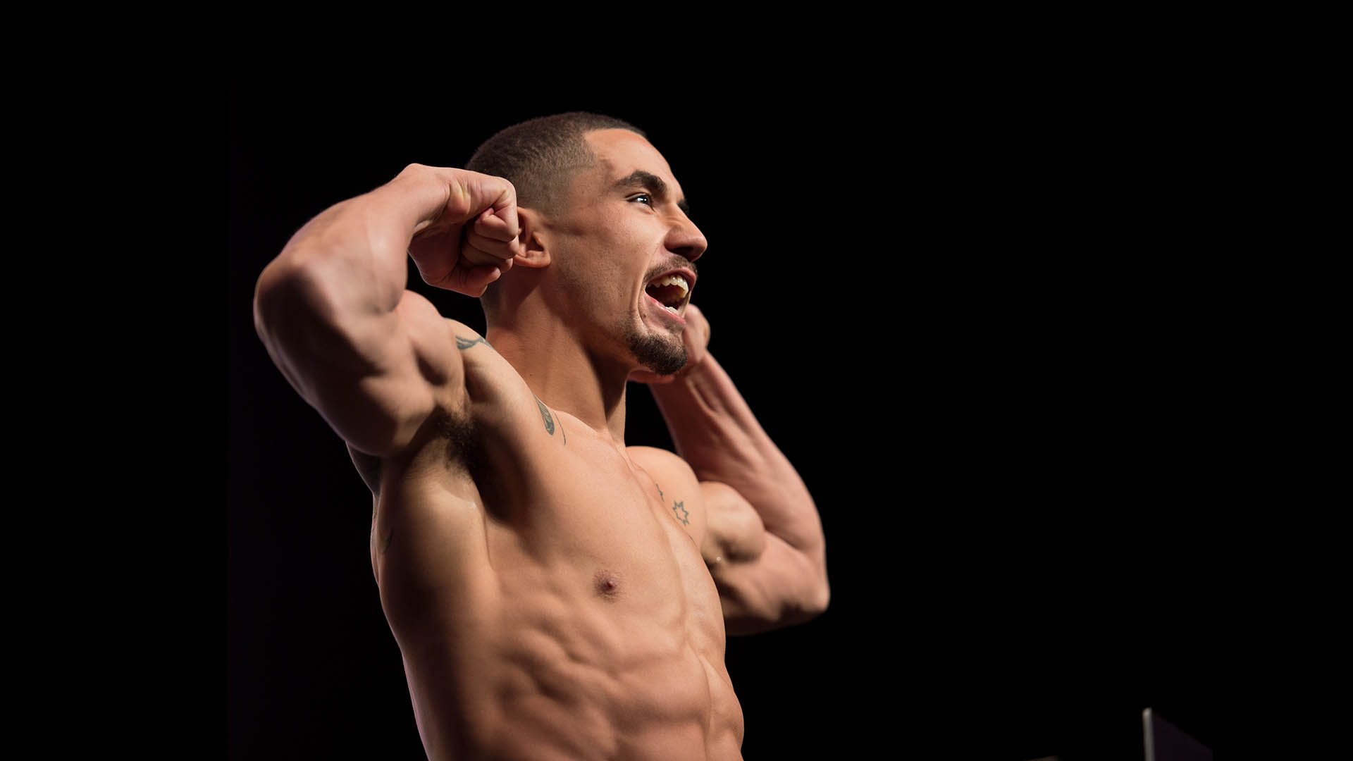 Robert Whittaker steps onto the scale during the UFC 197: Weigh-ins at MGM Grand Hotel & Casino on April 22, 2016 in Las Vegas Nevada. (Photo by Brandon Magnus/Zuffa LLC/Zuffa LLC via Getty Images)