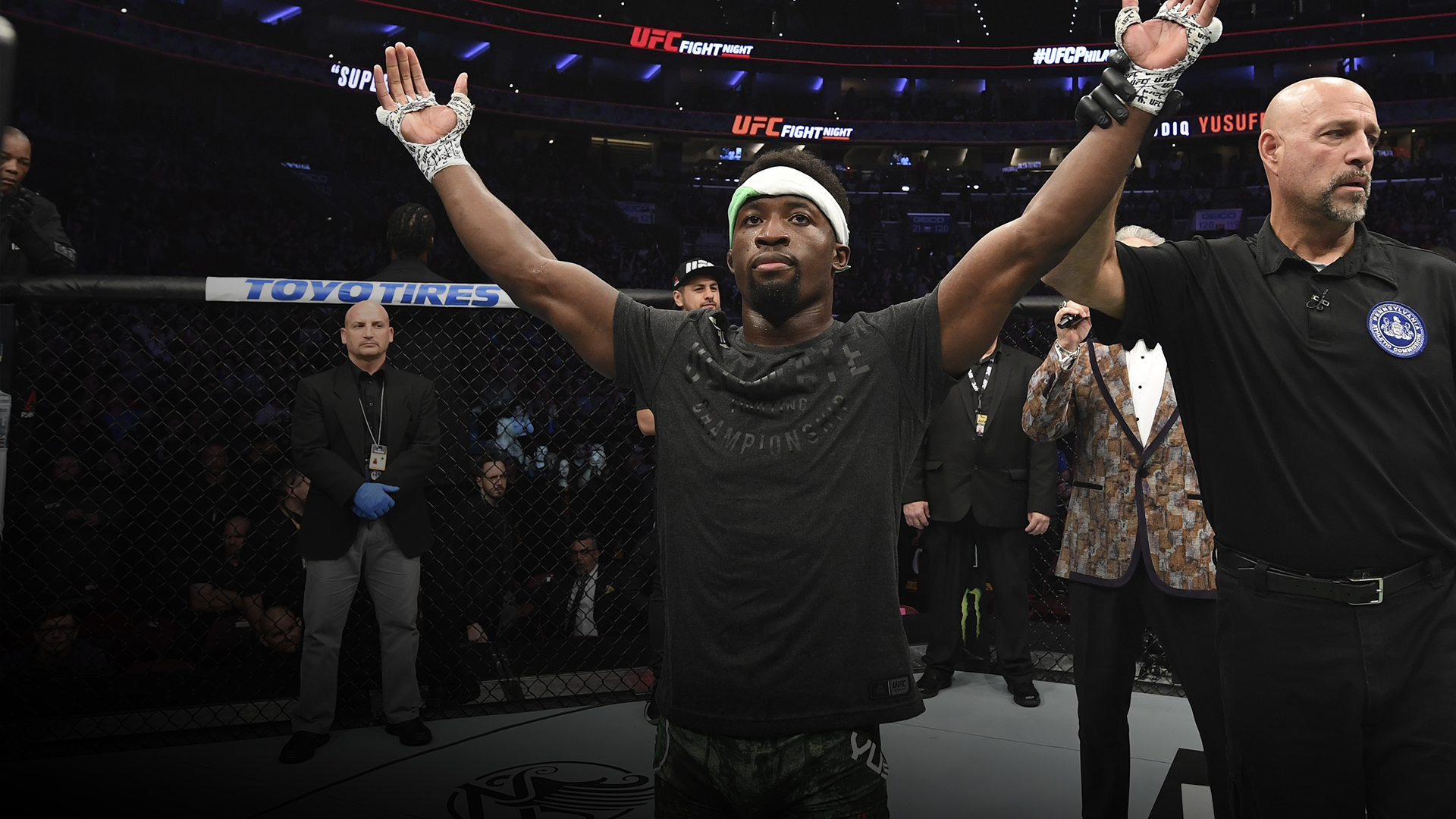 Sodiq Yusuff of Nigeria celebrates after defeating Sheymon Moraes of Brazil by unanimous decision in their featherweight bout during the UFC Fight Night event at Wells Fargo Center on March 30, 2019 in Philadelphia, Pennsylvania. (Photo by Josh Hedges/Zuffa LLC)