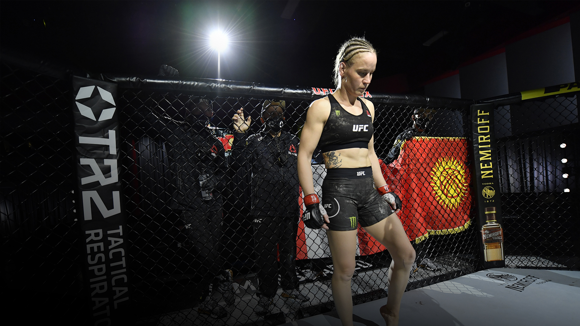 Valentina Shevchenko of Kyrgyzstan stands in her corner prior to her women's flyweight championship bout against Jennifer Maia of Brazil during the UFC 255 event at UFC APEX on November 21, 2020 in Las Vegas, Nevada. (Photo by Jeff Bottari/Zuffa LLC)