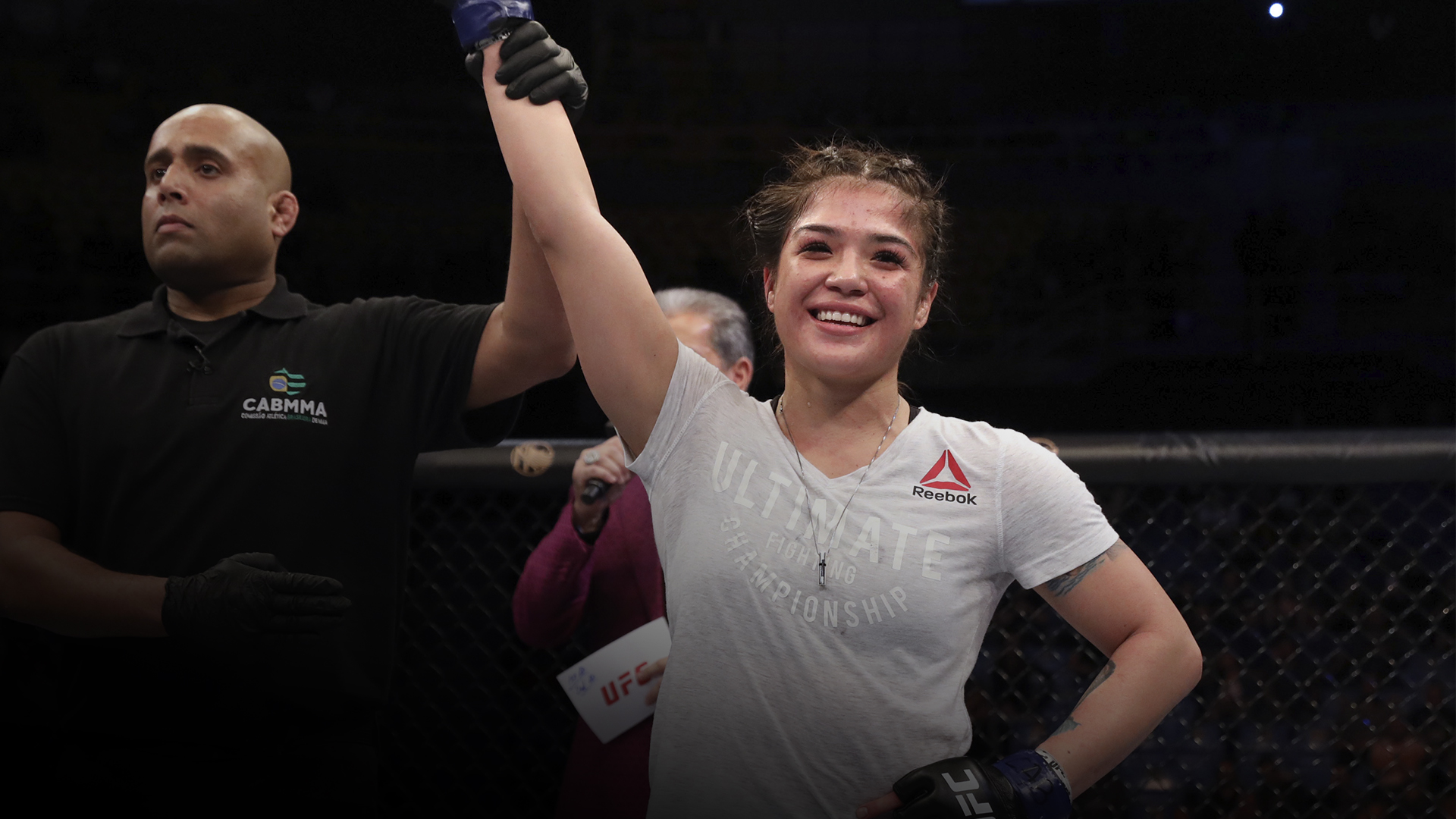 Tracy Cortez celebrates after defeating Vanessa Melo of Brazil in their bantamweight fight during the UFC Fight Night event at Ibirapuera Gymnasium on November 16, 2019 in Sao Paulo, Brazil. (Photo by Alexandre Schneider/Zuffa LLC