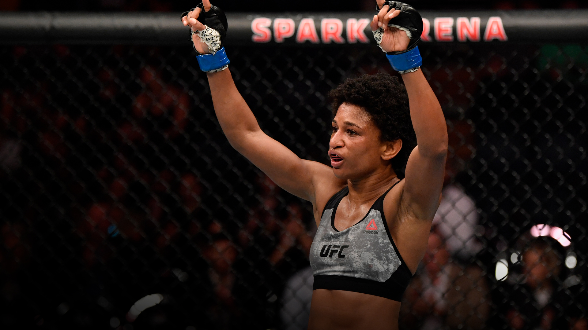 Angela Hill reacts after the conclusion of her strawweight bout against Loma Lookboonmee of Thailand during the UFC Fight Night event at Spark Arena on February 23, 2020 in Auckland, New Zealand. (Photo by Jeff Bottari/Zuffa LLC)