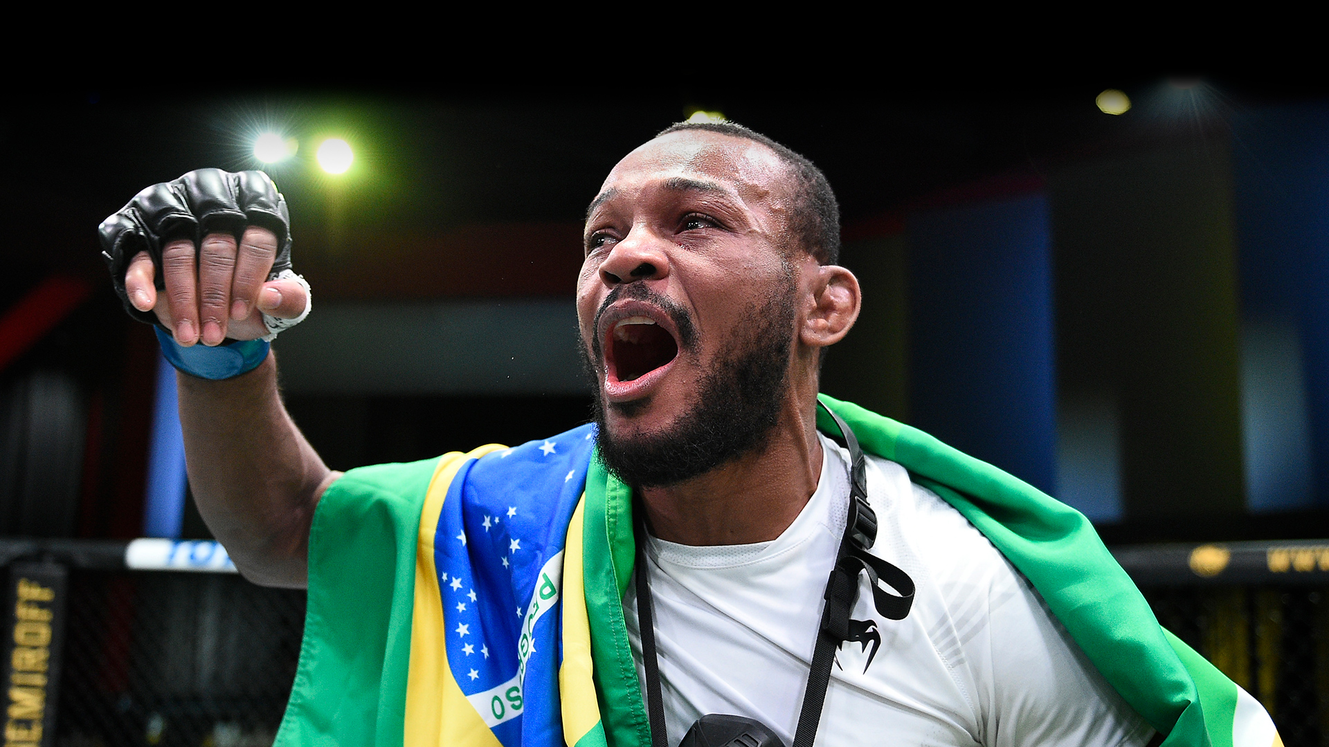 Carlston Harris reacts after his submission victory over Christian Aguilera in a welterweight fight during the UFC Fight Night event at UFC APEX on May 08, 2021 in Las Vegas, Nevada. (Photo by Chris Unger/Zuffa LLC)