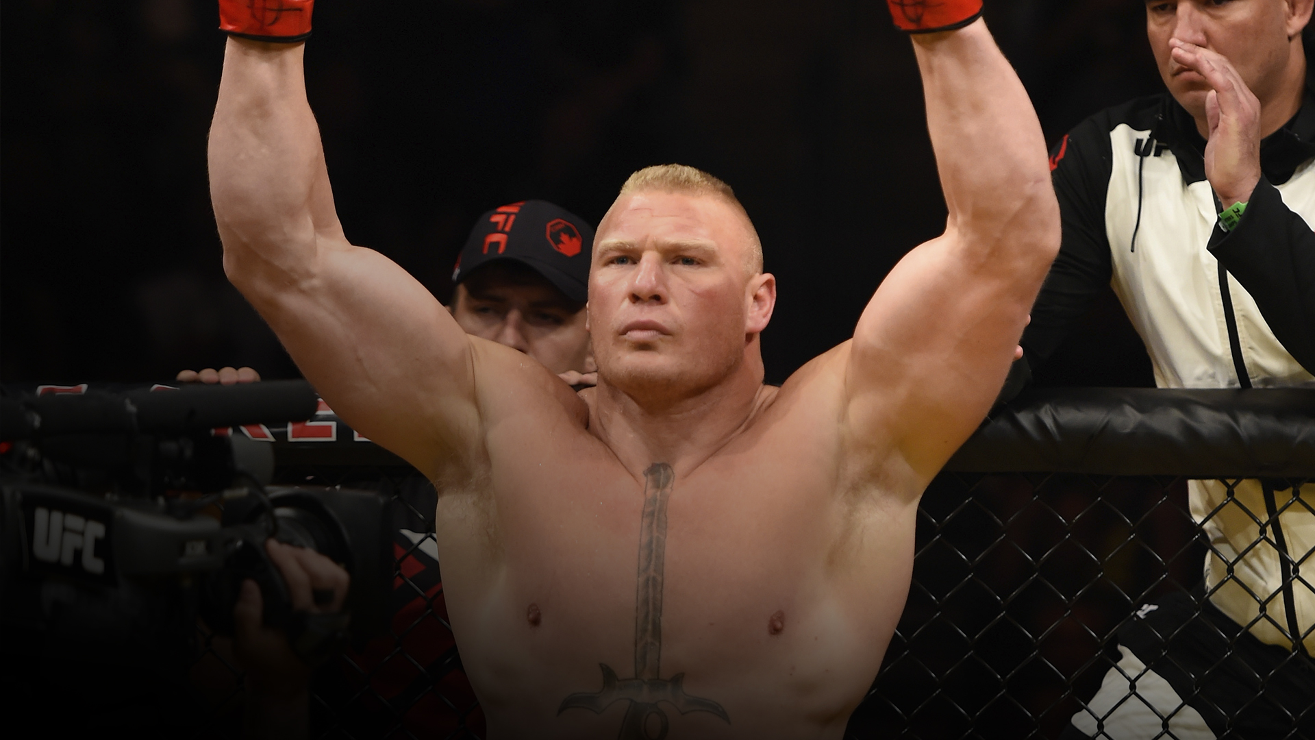 Brock Lesnar prepares to face Mark Hunt of New Zealand in their heavyweight bout during the UFC 200 event on July 9, 2016 at T-Mobile Arena in Las Vegas, Nevada. (Photo by Josh Hedges/Zuffa LLC)