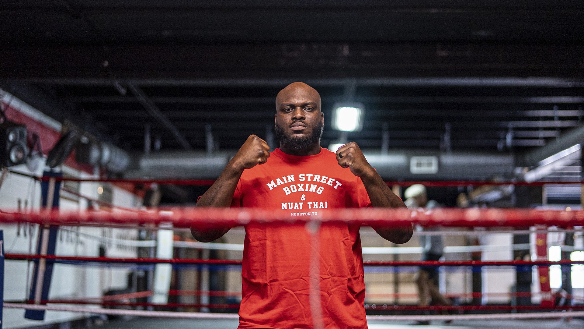 Derrick Lewis poses for a picture at Main Street Boxing and Muay Thai in Houston, Texas (photo by Nolan Walker/Zuffa LLC)