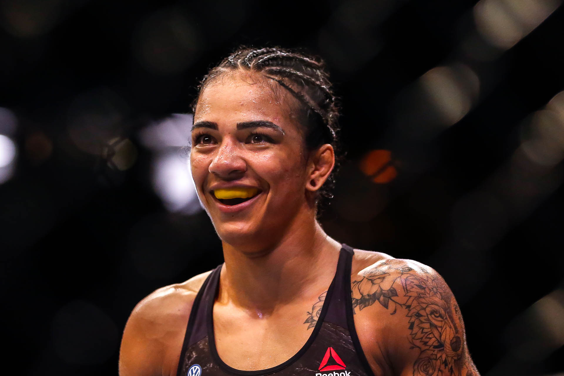 Viviane Araujo of Brazil reacts after her TKO victory over Talita Bernardo of Brazil in their women's bantamweight bout during the UFC 237 event at Jeunesse Arena on May 11, 2019 in Rio de Janeiro, Brazil. (Photo by Alexandre Schneider/Getty Images)