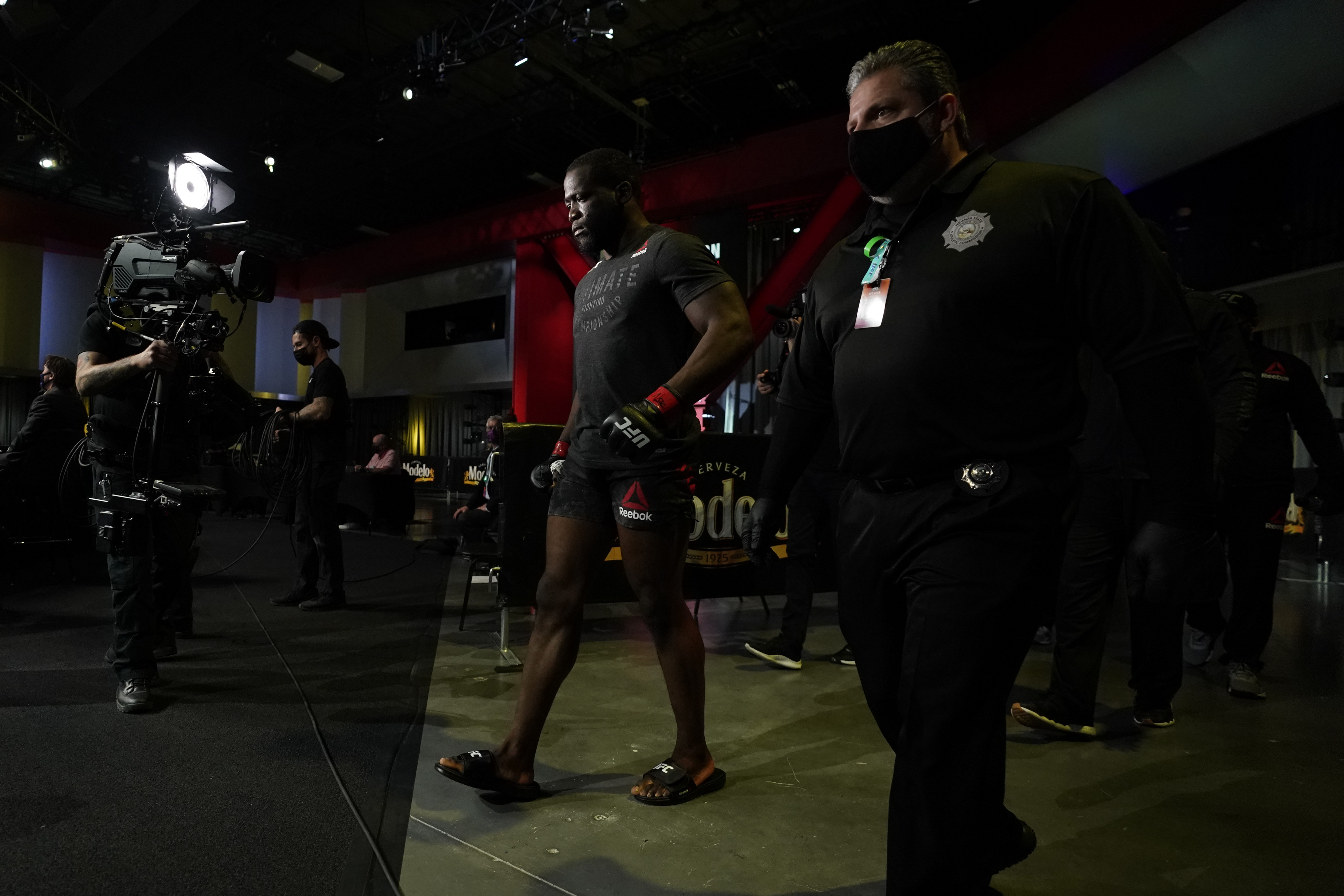 Tafon Nchukwi of Cameroon makes the walk to the Octagon before his middleweight bout against Jamie Pickett during the UFC Fight Night event at UFC APEX on December 19, 2020 in Las Vegas, Nevada. (Photo by Cooper Neill/Zuffa LLC)