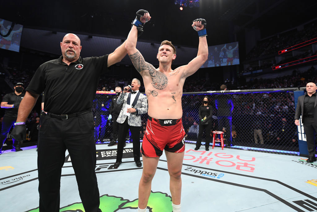Brendan Allen reacts after defeating Karl Roberson by submission in their middleweight bout during the UFC 261 event at VyStar Veterans Memorial Arena on April 24, 2021 in Jacksonville, Florida. (Photo by Josh Hedges/Zuffa LLC)