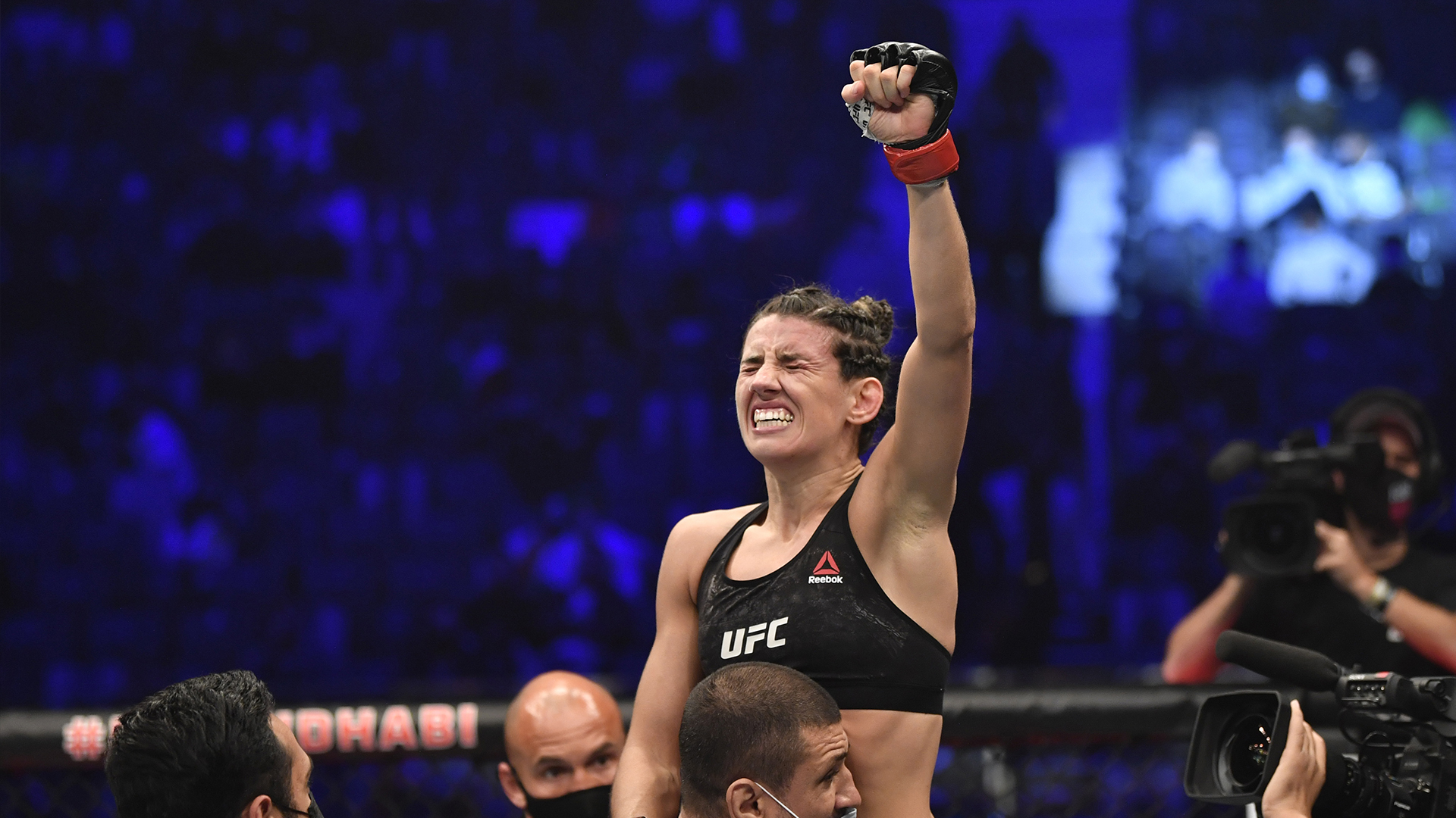 Marina Rodriguez of Brazil reacts after her knockout victory over Amanda Ribas of Brazil in a strawweight fight during the UFC 257 event inside Etihad Arena on UFC Fight Island on January 23, 2021 in Abu Dhabi, United Arab Emirates. (Photo by Jeff Bottari/Zuffa LLC)