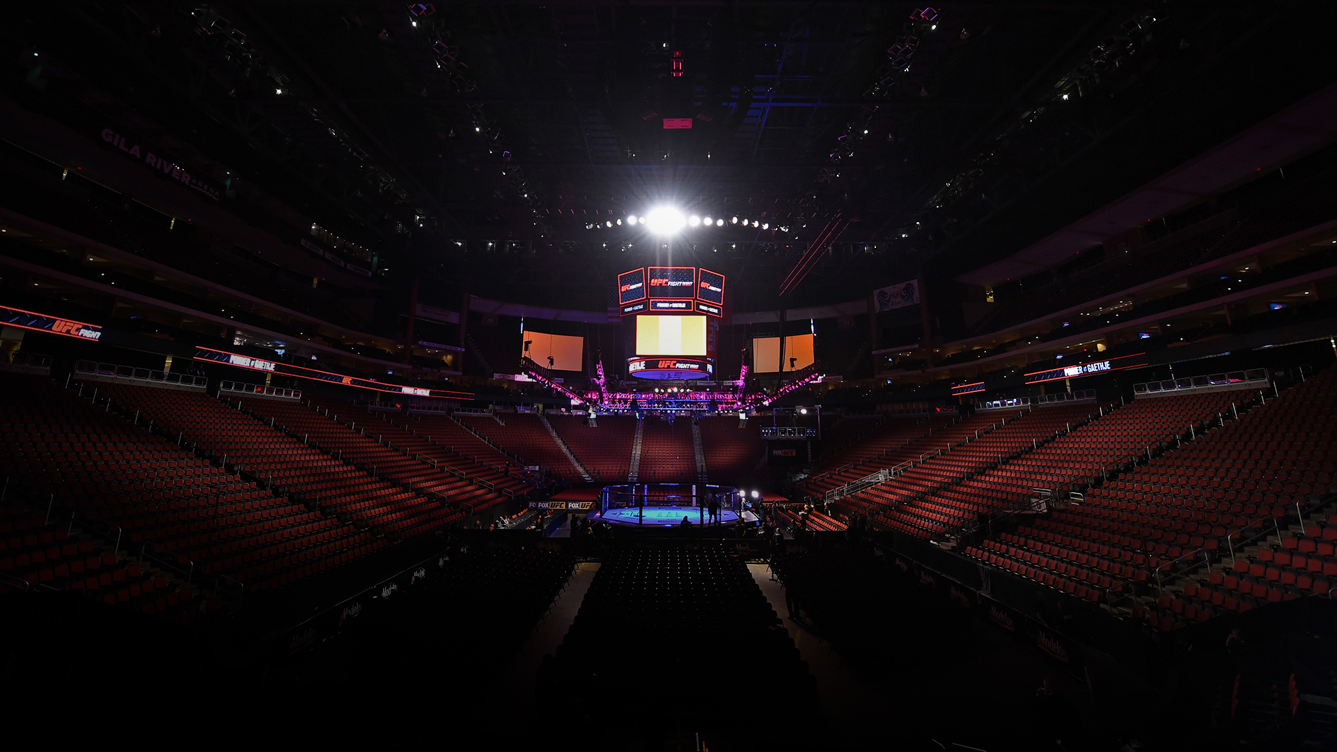 A general view of the Octagon before the UFC Fight Night event at the Gila Rivera Arena on April 14, 2018 in Glendale, Arizona. (Photo by Josh Hedges/Zuffa LLC)