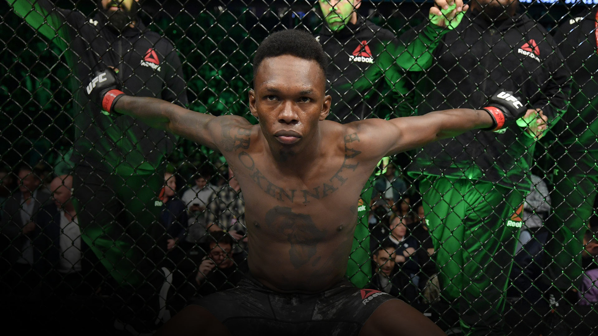 Israel Adesanya of Nigeria prepares to fight Yoel Romero of Cuba in their UFC middleweight championship fight during the UFC 248 event at T-Mobile Arena on March 07, 2020 in Las Vegas, Nevada. (Photo by Jeff Bottari/Zuffa LLC)