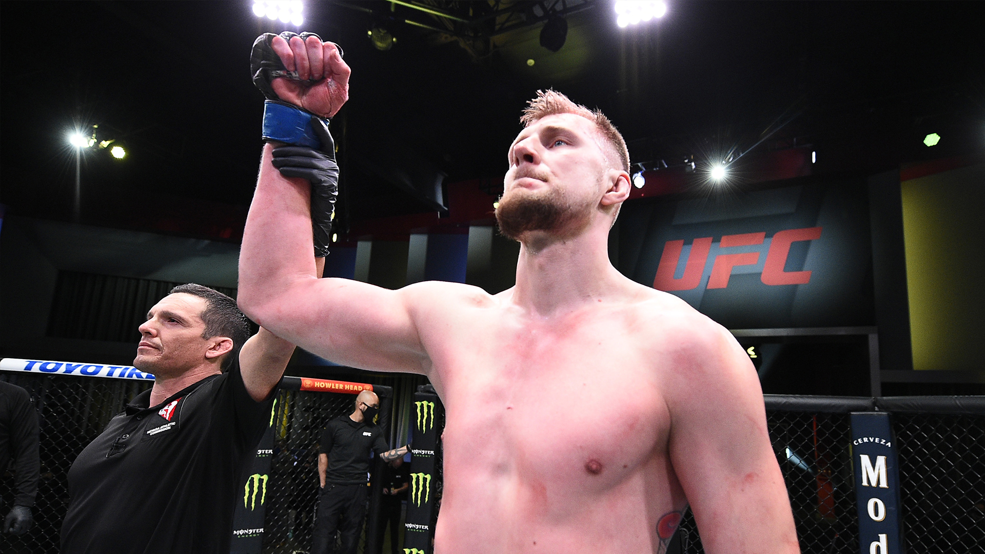 Alexander Volkov of Russia reacts after his knockout victory over Alistair Overeem of the Netherlands in their heavyweight fight during the UFC Fight Night event at UFC APEX on February 06, 2021 in Las Vegas, Nevada. (Photo by Chris Unger/Zuffa LLC)