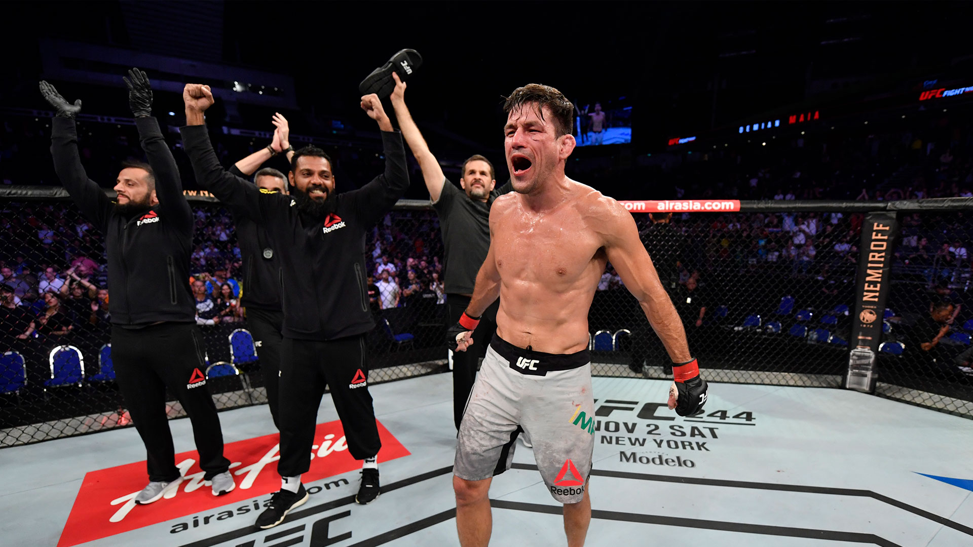 Demian Maia of Brazil celebrates his submission victory over Ben Askren in their welterweight bout during the UFC Fight Night event at Singapore Indoor Stadium on October 26, 2019 in Singapore. (Photo by Jeff Bottari/Zuffa LLC)