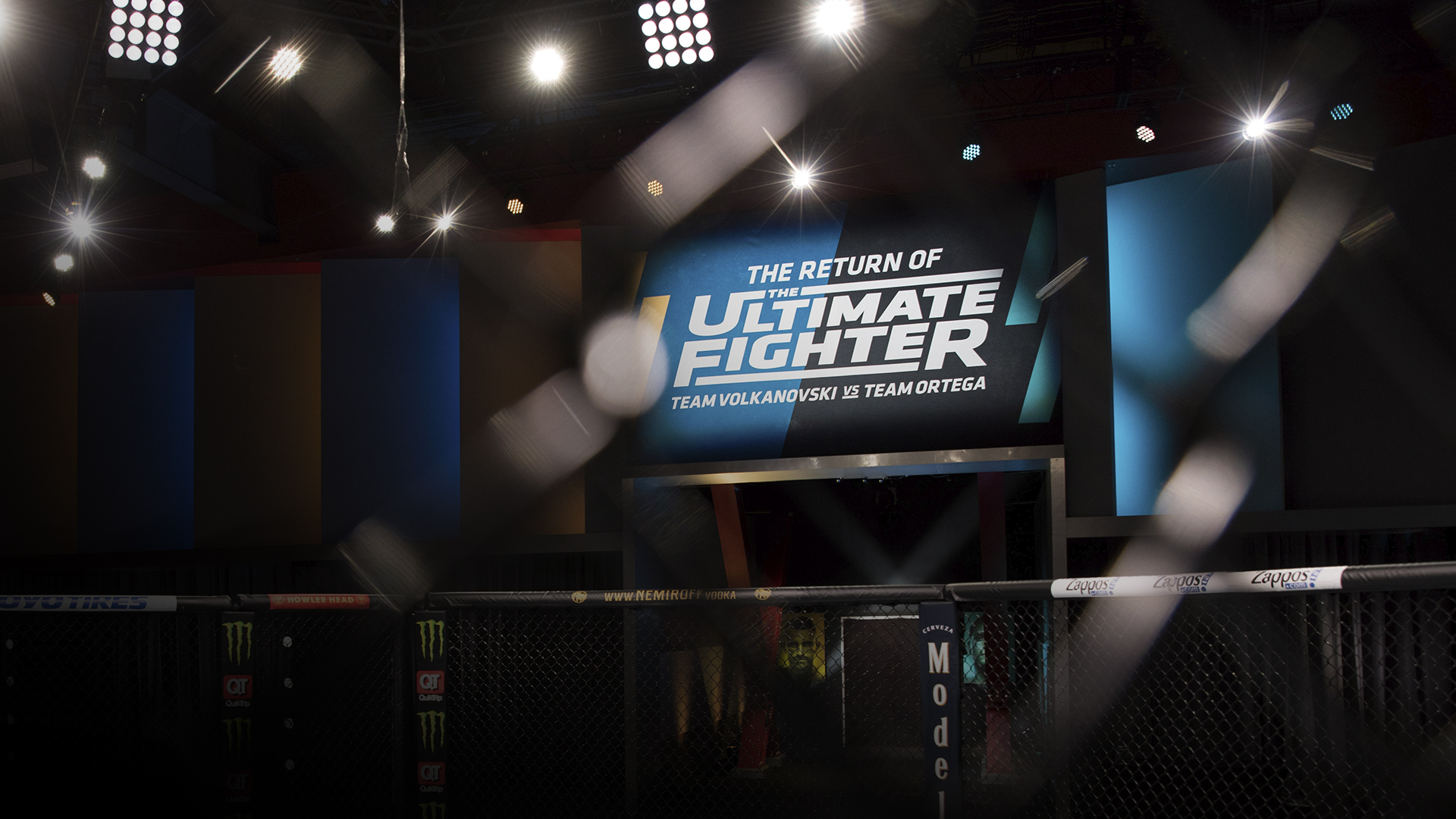 General image of the Octagon in the UFC Apex during the filming of The Return Of The Ultimate Fighter (photo by Chris Unger/Zuffa LLC)