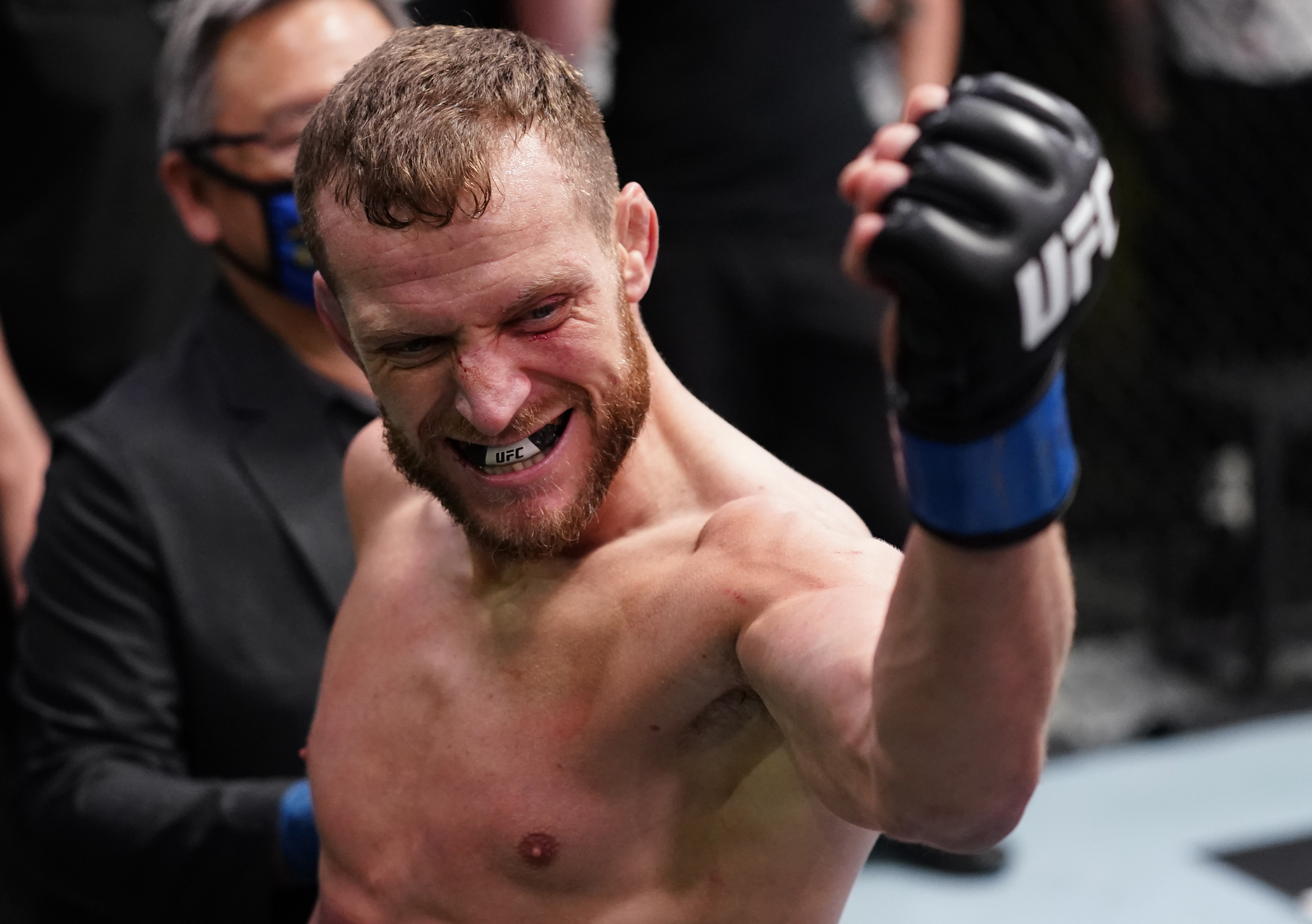 Davey Grant of England reacts after his knockout victory over Jonathan Martinez in a bantamweight fight during the UFC Fight Night event at UFC APEX on March 13, 2021 in Las Vegas, Nevada. (Photo by Jeff Bottari/Zuffa LLC)