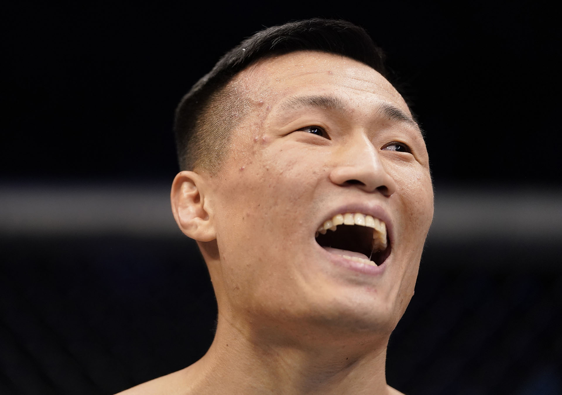 Chan Sung Jung of South Korea celebrates after knocking out Frankie Edgar in their featherweight fight during the UFC Fight Night event at Sajik Arena 3 on December 21, 2019 in Busan, South Korea. (Photo by Jeff Bottari/Zuffa LLC via Getty Images)