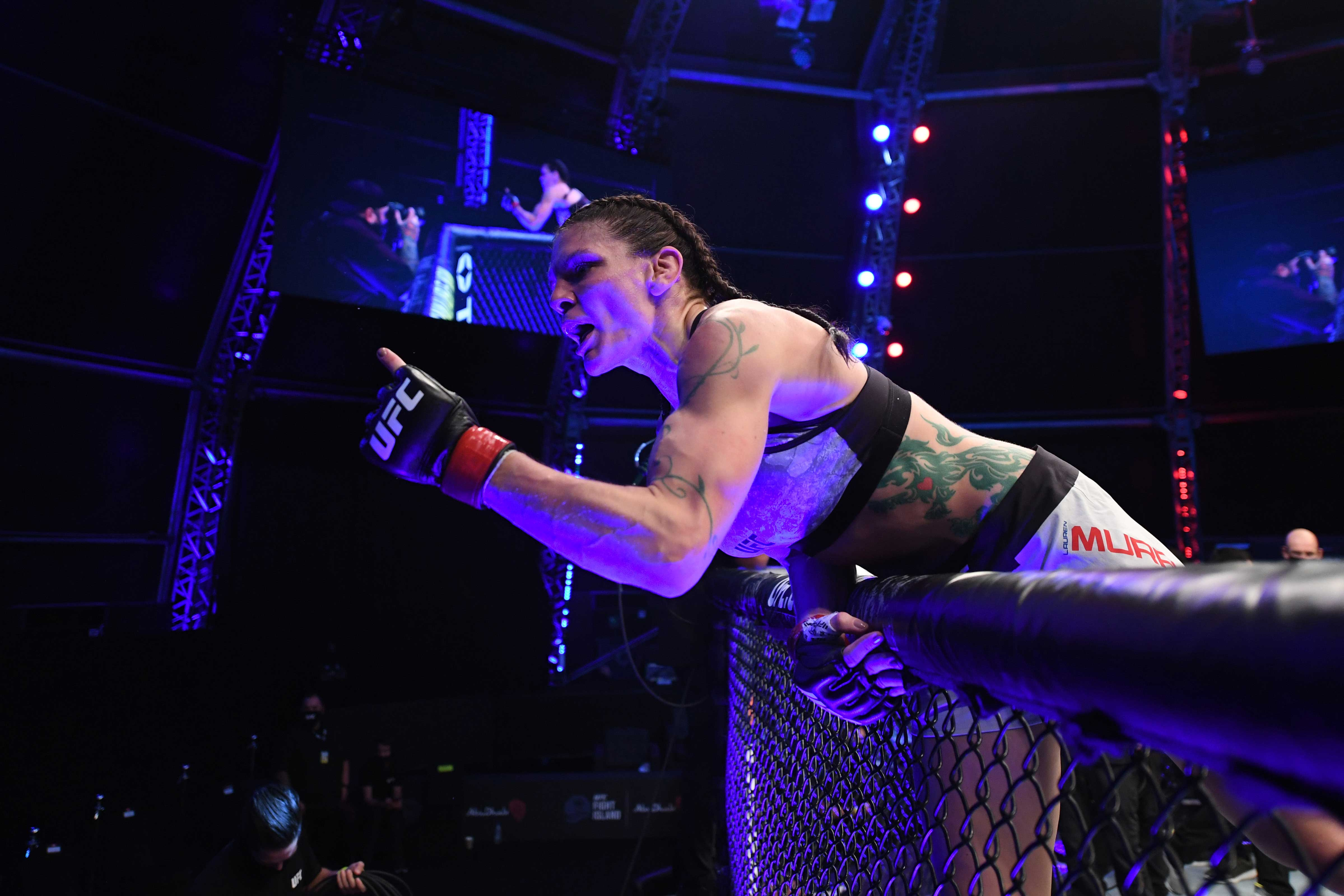 Lauren Murphy celebrates her victory over Liliya Shakirova of Uzbekistan in their women's flyweight bout during the UFC 254 event on October 24, 2020 on UFC Fight Island, Abu Dhabi, United Arab Emirates. (Photo by Josh Hedges/Zuffa LLC via Getty Images)