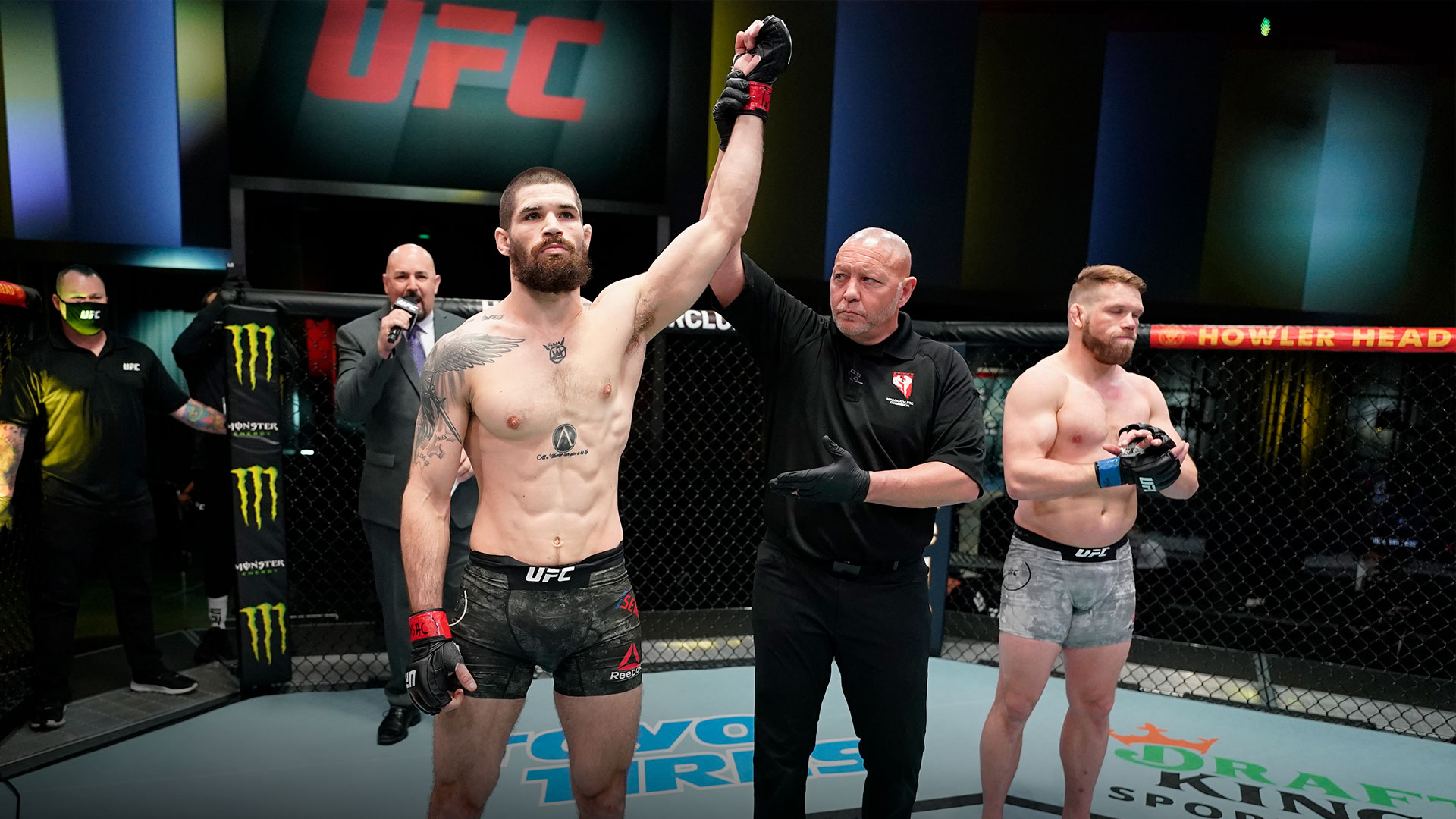 Matthew Semelsberger reacts after his knockout victory over Jason Witt in a welterweight fight during the UFC Fight Night event at UFC APEX on March 13, 2021 in Las Vegas, Nevada. (Photo by Jeff Bottari/Zuffa LLC)