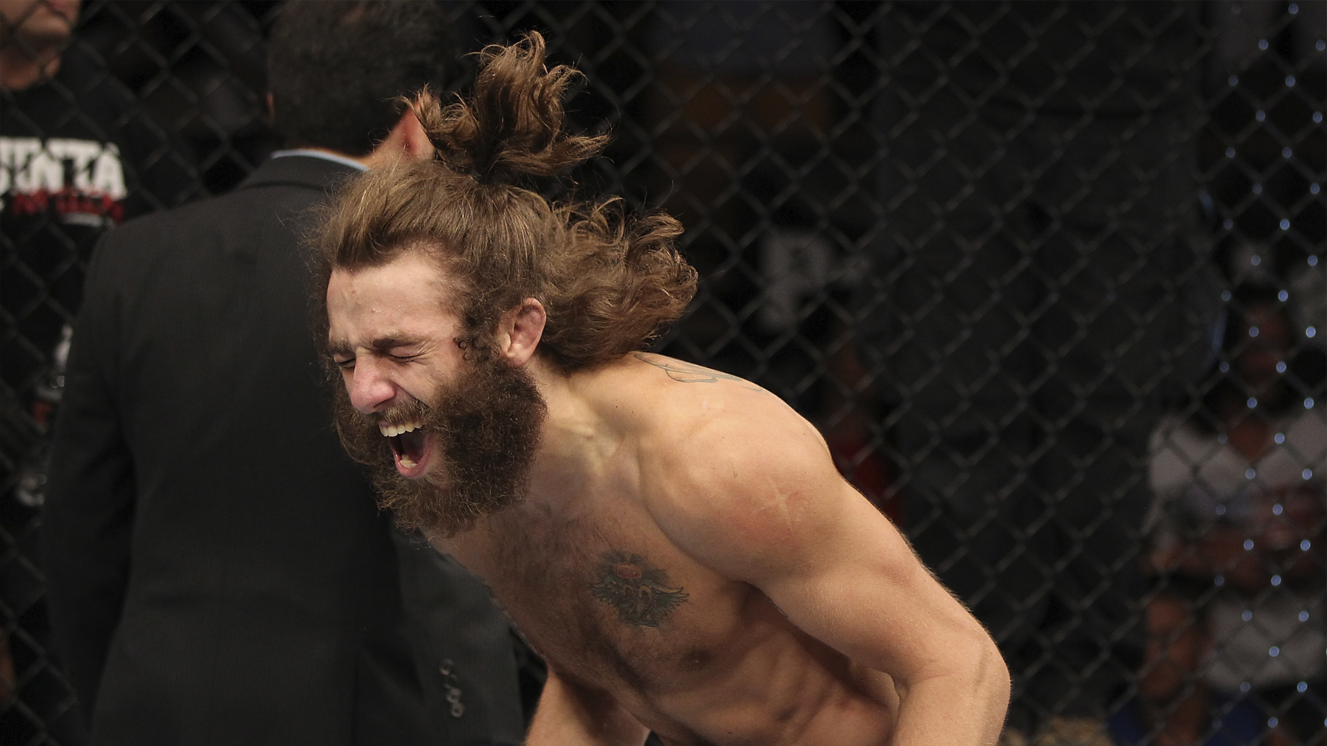 Michael Chiesa reacts to his submission victory in a Lightweight bout against Al Iaquinta during The Ultimate Fighter Live Finale at the Pearl Theater at the Palms Casino Resort on June 1, 2012 in Las Vegas, Nevada. (Photo by Josh Hedges/Zuffa LLC