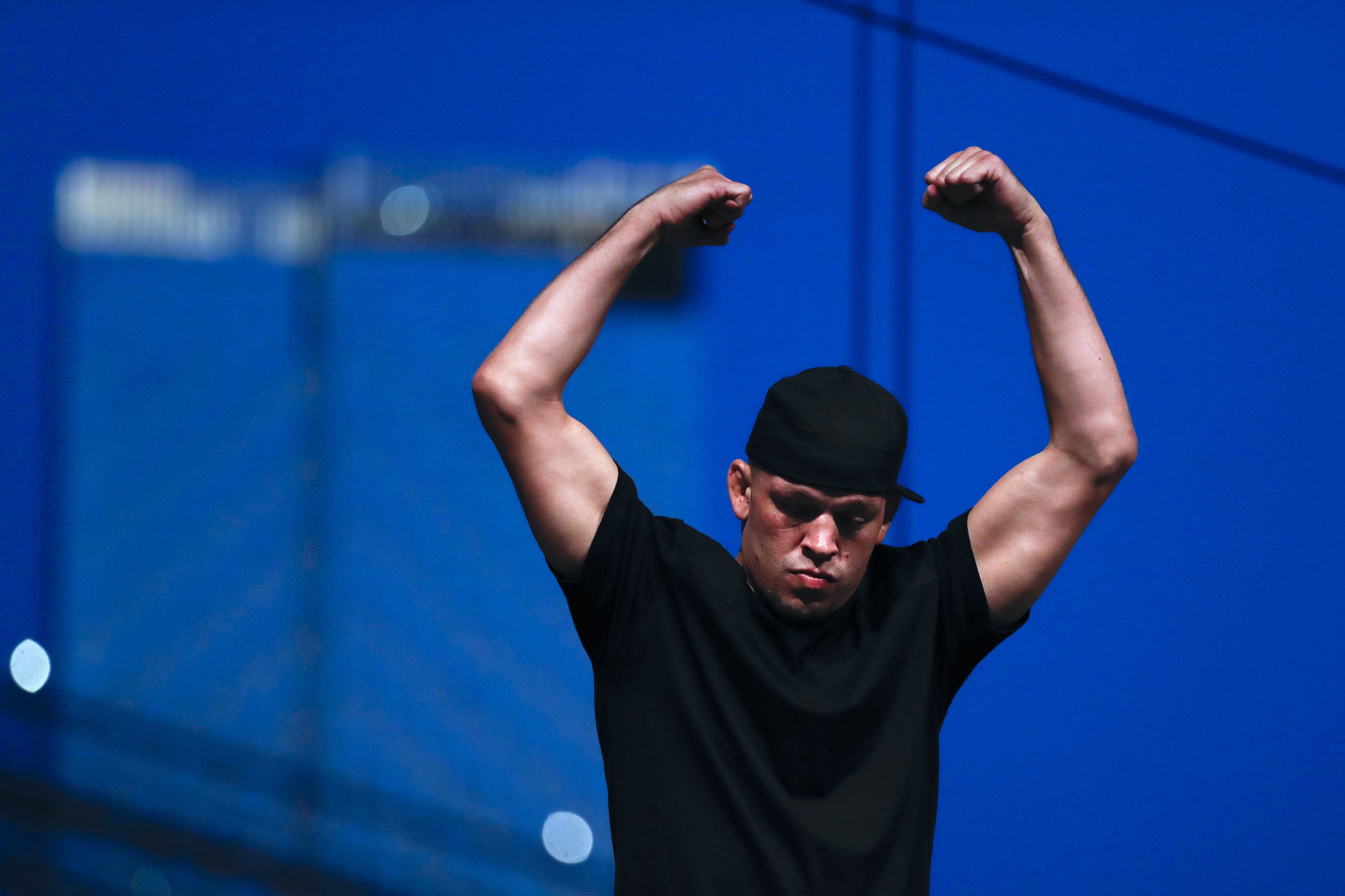Nate Diaz during a press conference ahead of UFC 244 at The Rooftop at Pier 17 on September 19, 2019 in New York City. (Photo by Michael Owens/Zuffa LLC)