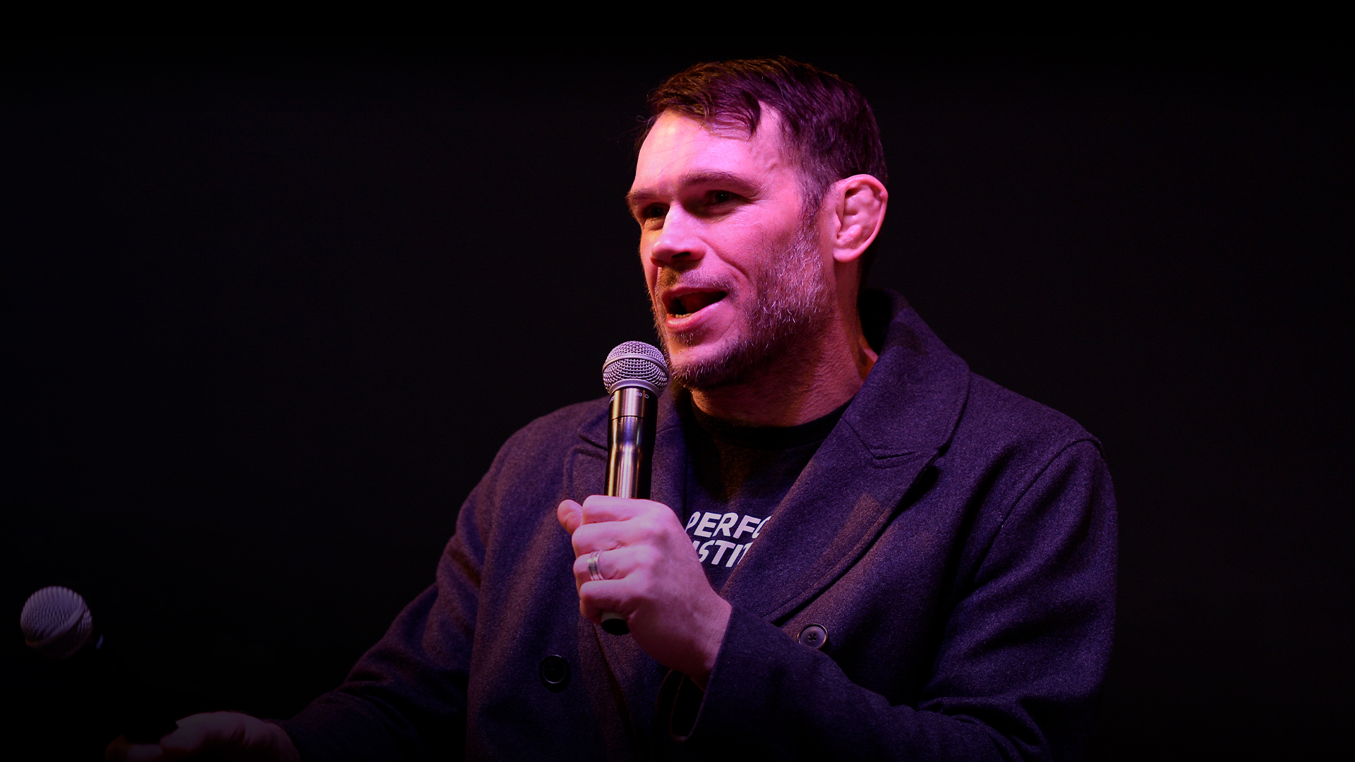 UFC Hall of Famer Forrest Griffin speaks to the media during the Ultimate Sports Weekend Pep Rally at Toshiba Plaza on February 28, 2018 in Las Vegas, Nevada. (Photo by Brandon Magnus/Zuffa LLC)