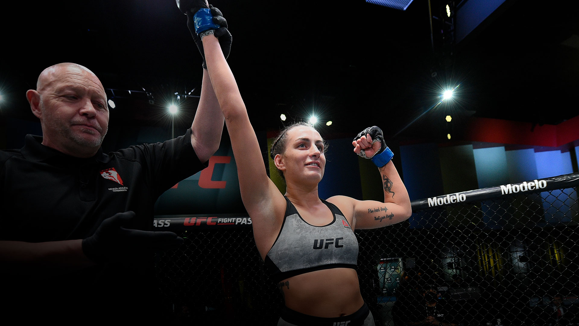 Casey O'Neill of Australia reacts after her victory over Shana Dobson in a flyweight bout during the UFC Fight Night event at UFC APEX on February 20, 2021 in Las Vegas, Nevada. (Photo by Chris Unger/Zuffa LLC)