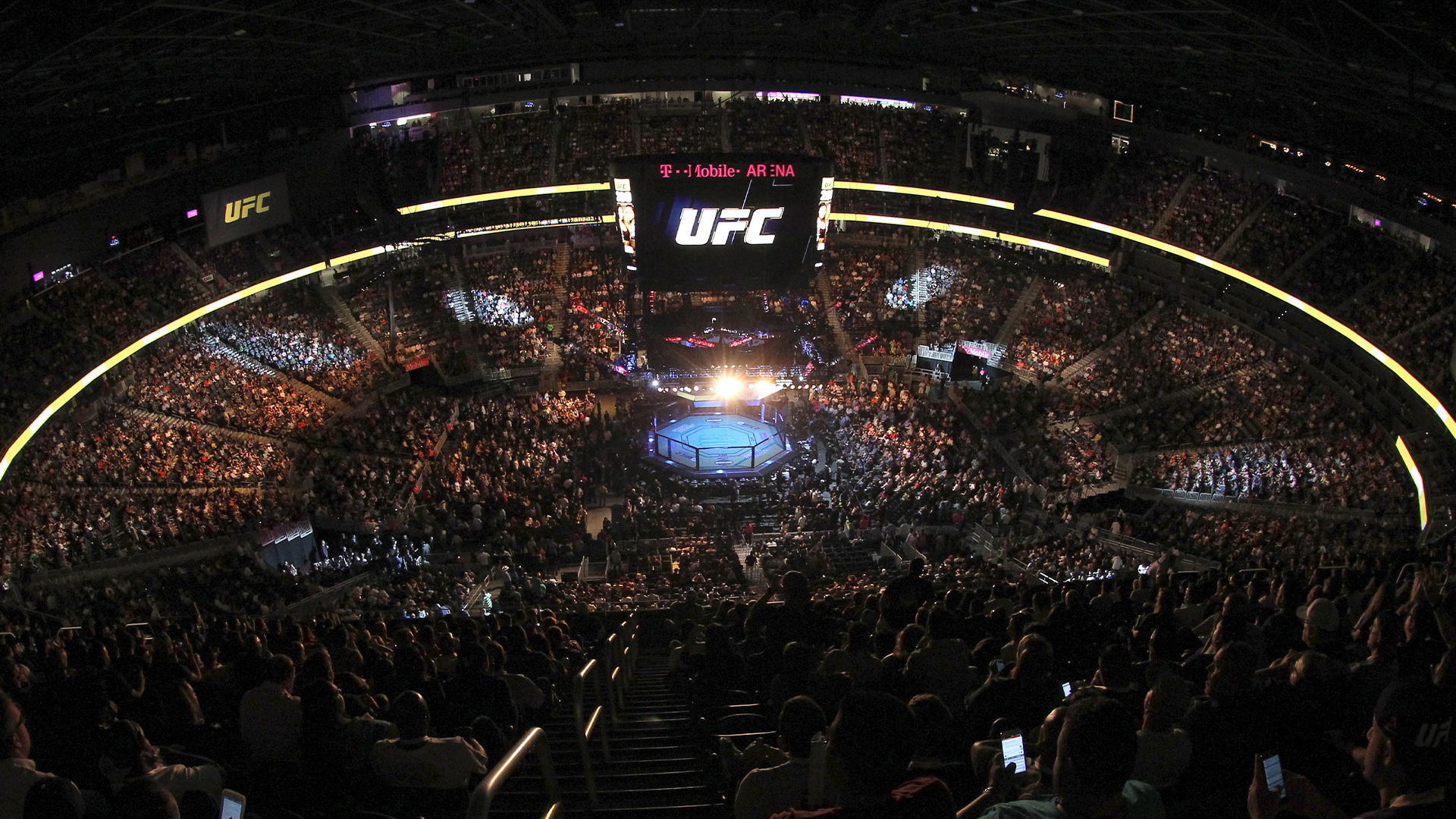 A general view of the arena during the UFC 200 event on July 9, 2016 at T-Mobile Arena in Las Vegas, Nevada. (Photo by Ed Mulholland/Zuffa LLC)