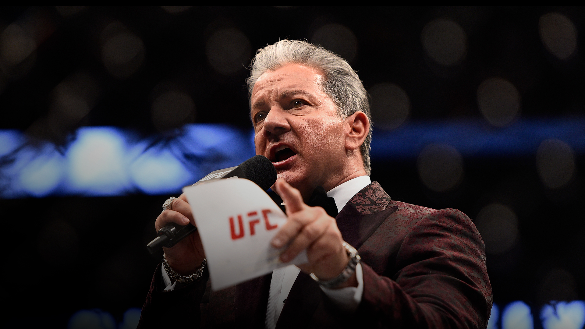 UFC Octagon Announcer Bruce Buffer introduces Glover Teixeira of Brazil before facing Anthony Johnson in their light heavyweight bout during the UFC 202 event at T-Mobile Arena on August 20, 2016 in Las Vegas, Nevada. (Photo by Jeff Bottari/Zuffa LLC)