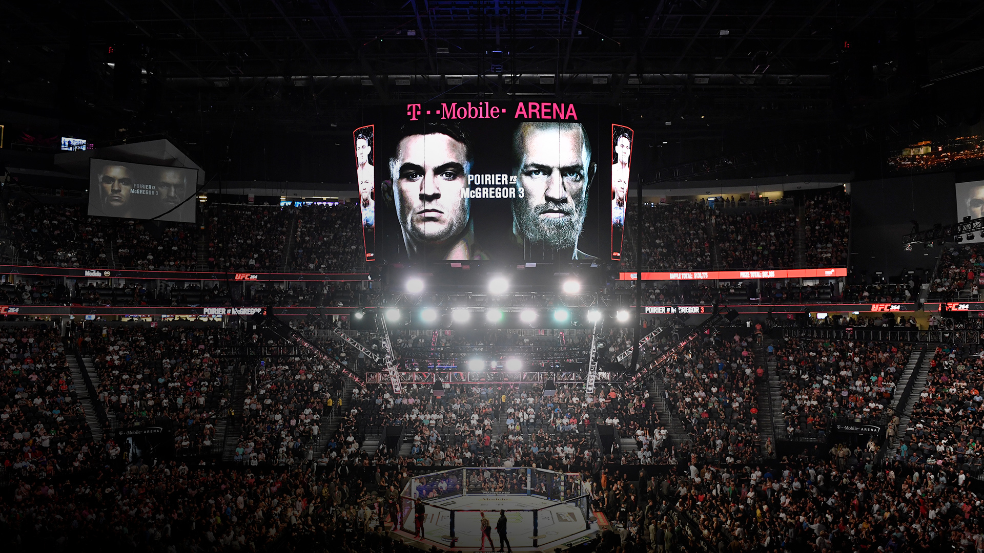 A general view of the Octagon during the UFC 264 event at T-Mobile Arena on July 10, 2021 in Las Vegas, Nevada. (Photo by Chris Unger/Zuffa LLC)