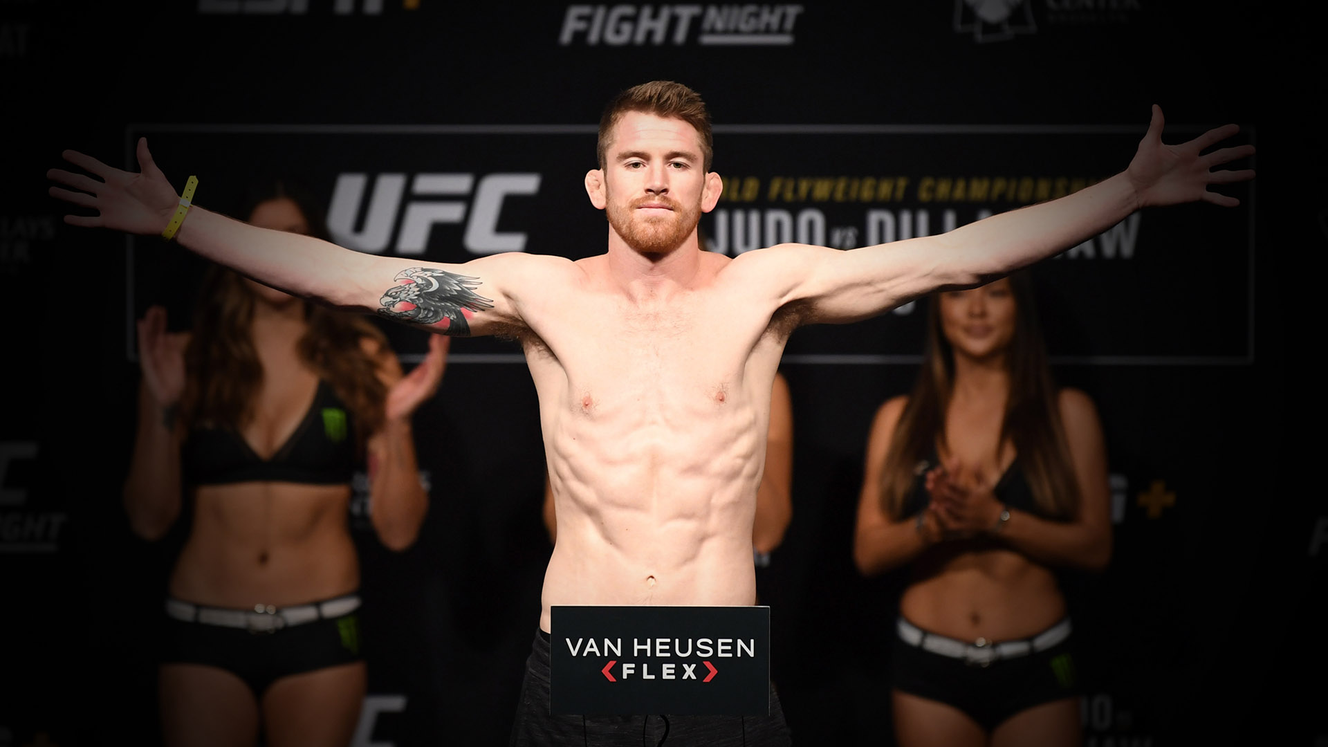 Cory Sandhagen poses on the scale during the UFC Fight Night weigh-in at Barclays Center on January 18, 2019 in the Brooklyn borough of New York City. (Photo by Josh Hedges/Zuffa LLC)