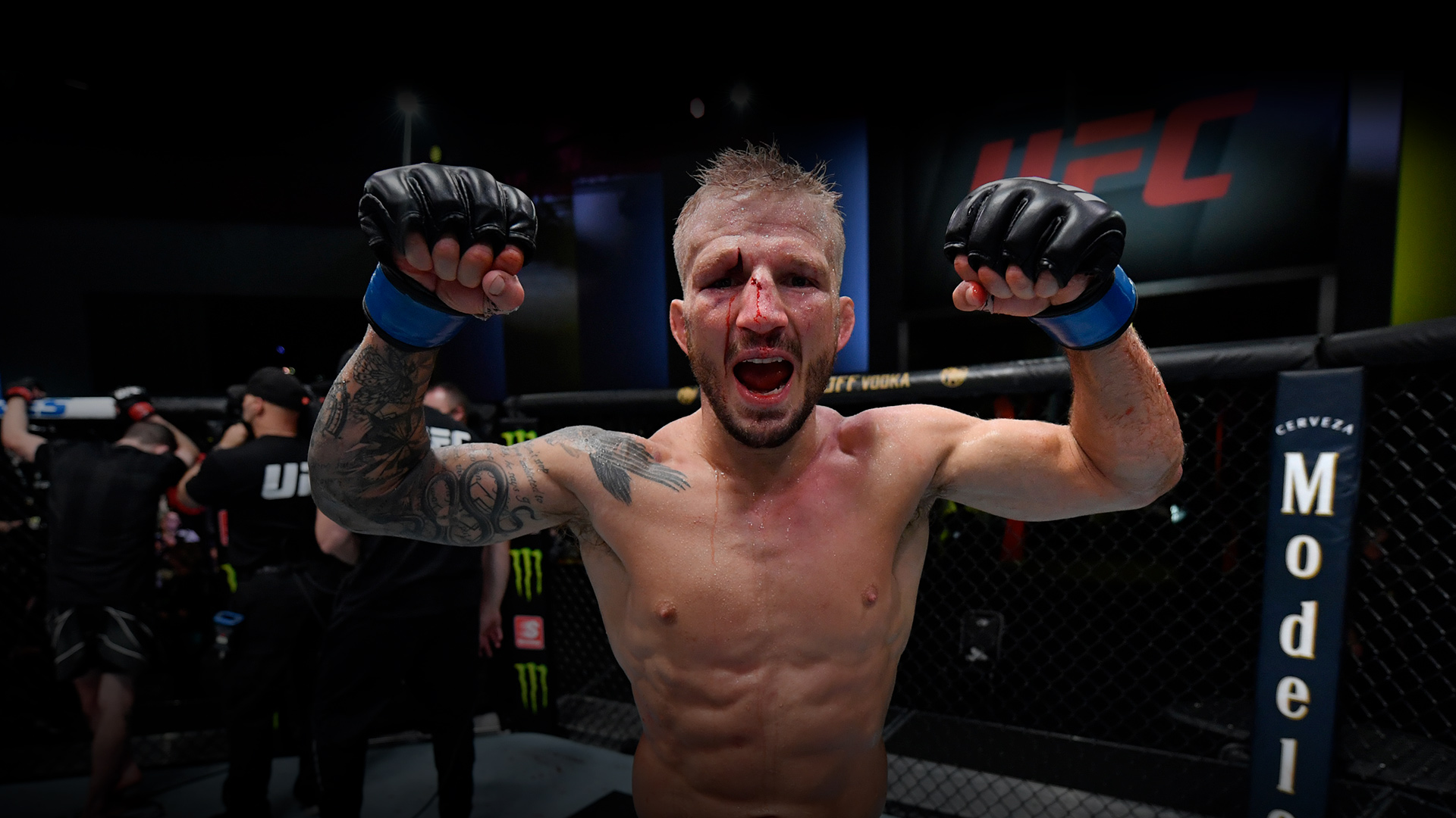 Dillashaw reacts after his split-decision victory over Corey Sandhagen in their bantamweight fight during the UFC Fight Night event at UFC APEX on July 24, 2021 in Las Vegas, Nevada. (Photo by Jeff Bottari/Zuffa LLC)