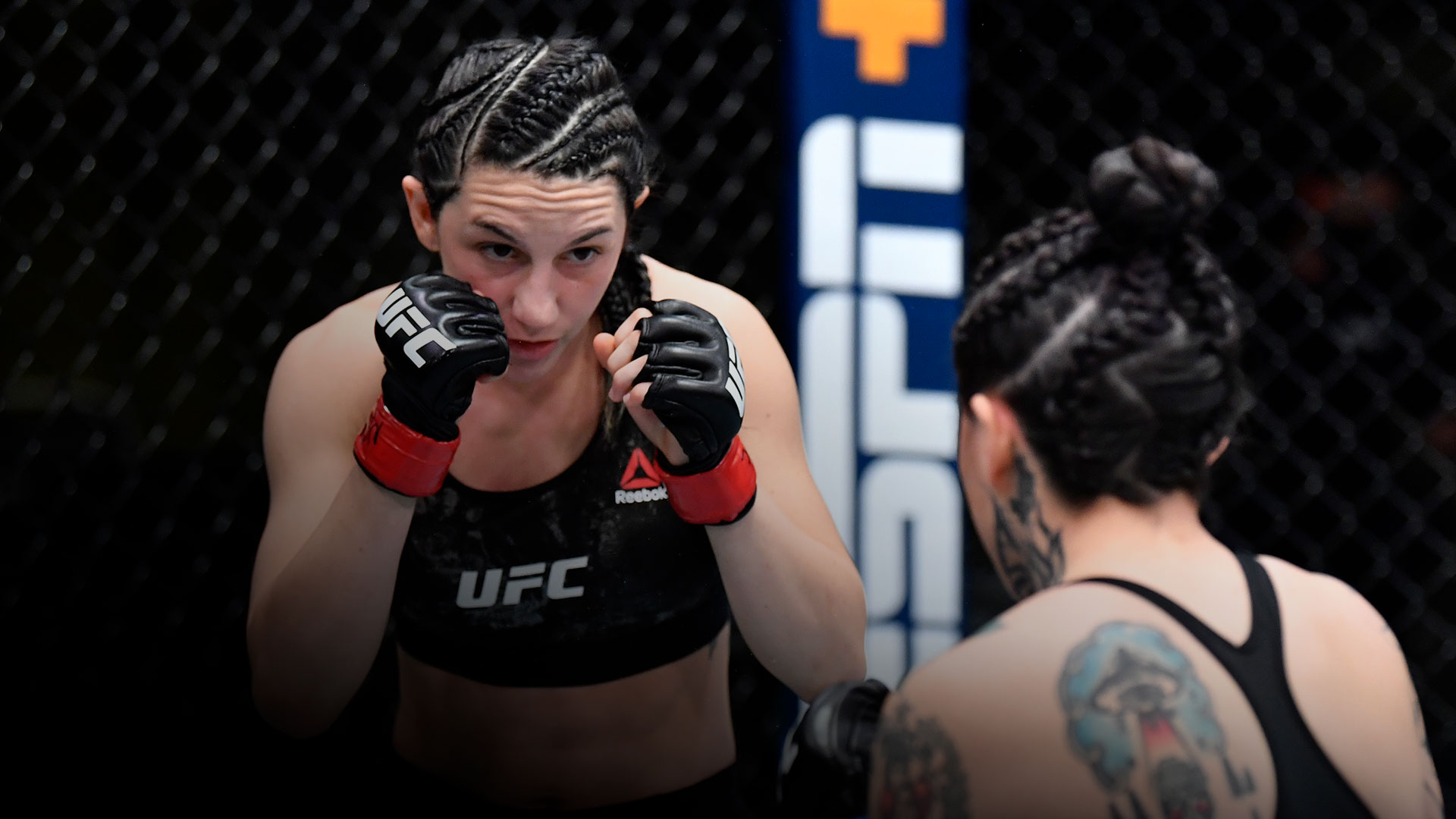 Cheyanne Buys battles Montserrat Conejo of Mexico in their strawweight fight during the UFC Fight Night event at UFC APEX on March 20 2021 in Las Vegas