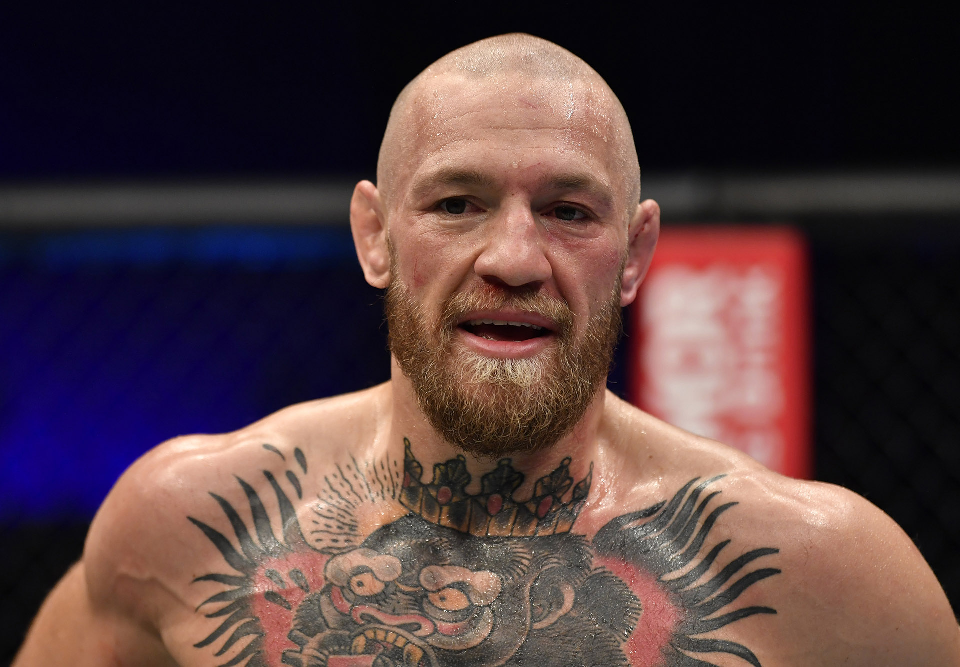 Conor McGregor of Ireland reacts after his TKO loss to Dustin Poirier in a lightweight fight during the UFC 257 event inside Etihad Arena on UFC Fight Island on January 23, 2021 in Abu Dhabi, United Arab Emirates. (Photo by Jeff Bottari/Zuffa LLC)