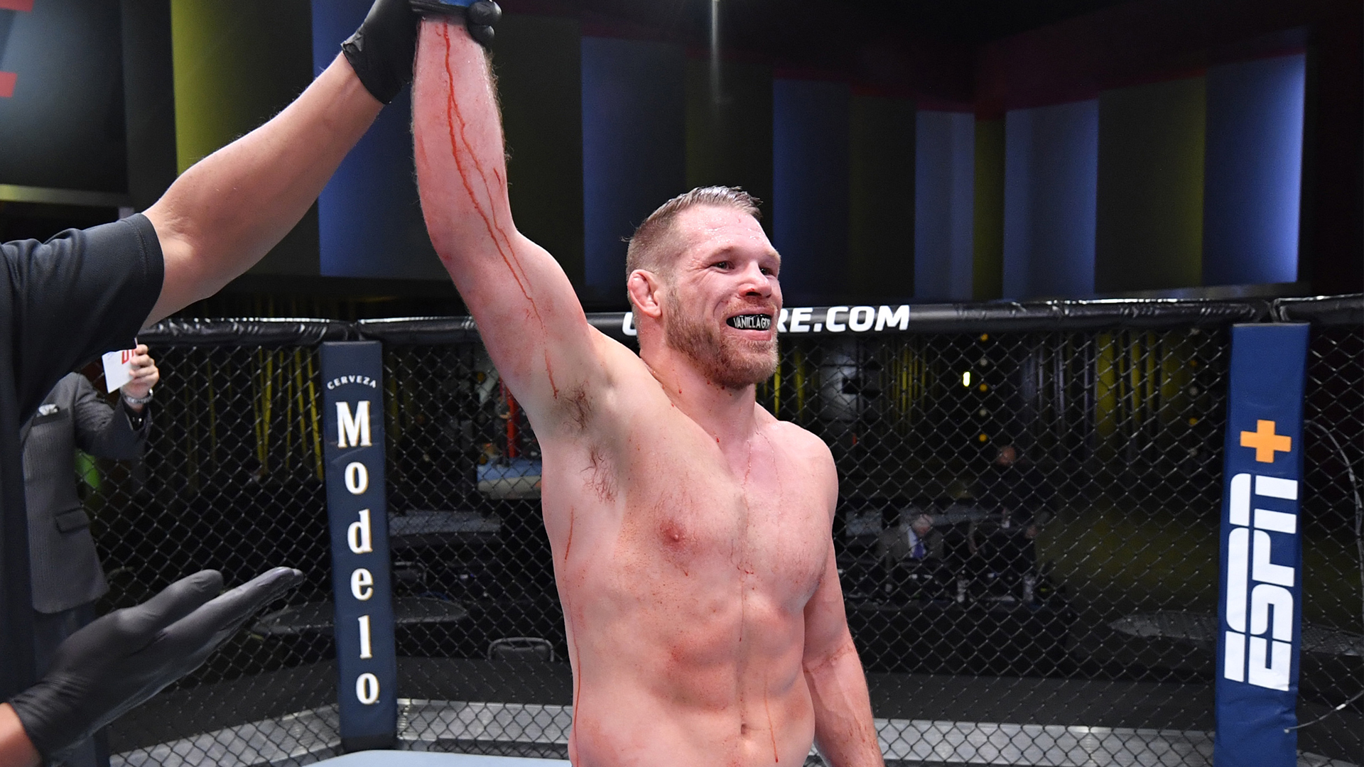 Jason Witt reacts after his submission victory over Cole Williams in a welterweight bout during the UFC Fight Night event at UFC APEX on October 31, 2020 in Las Vegas, Nevada. (Photo by Jeff Bottari/Zuffa LLC)
