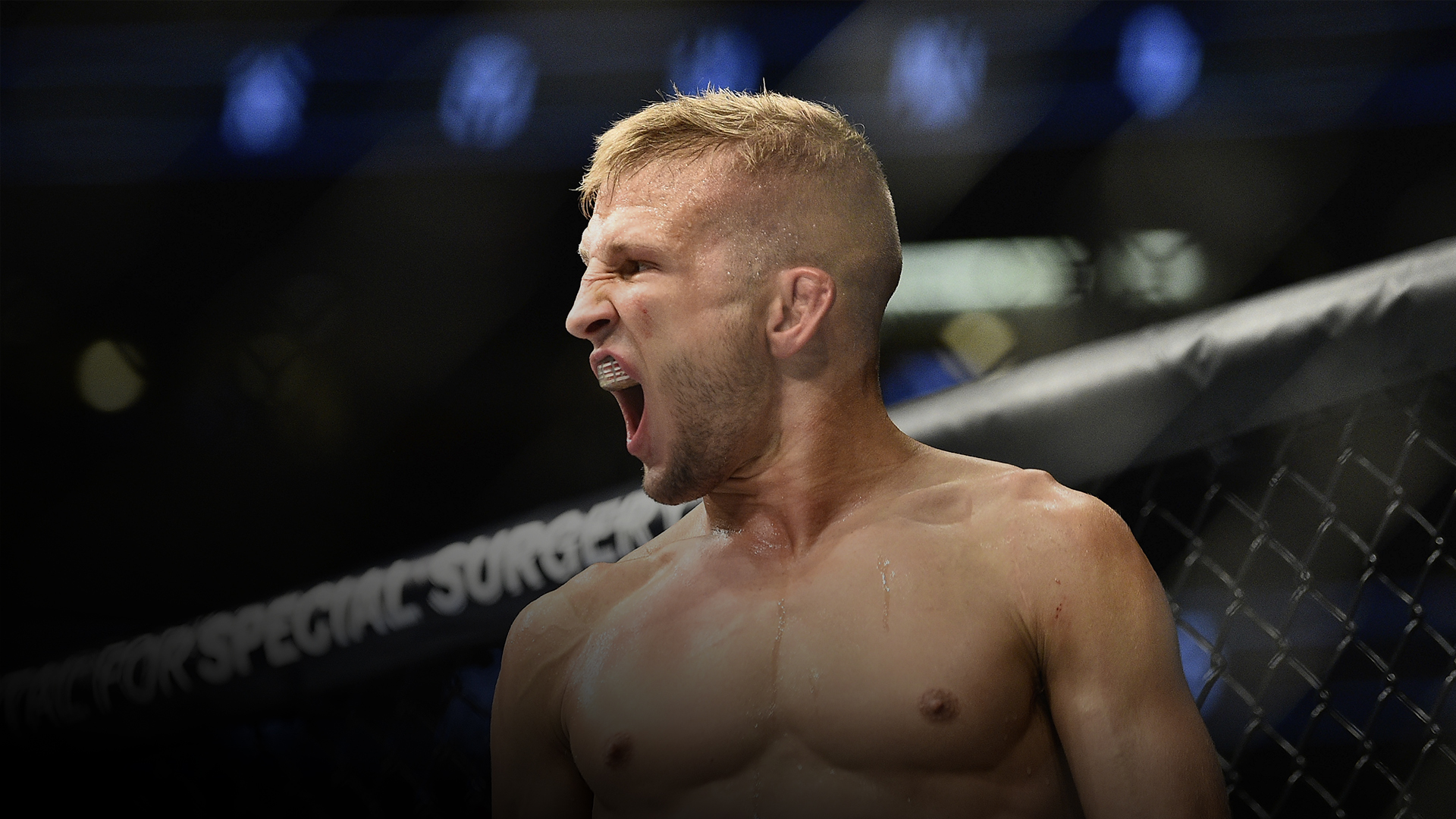 TJ Dillashaw reacts after defeating Cody Garbrandt in their UFC bantamweight championship bout during the UFC 217 event at Madison Square Garden on November 4, 2017 in New York City. (Photo by Jeff Bottari/Zuffa LLC)