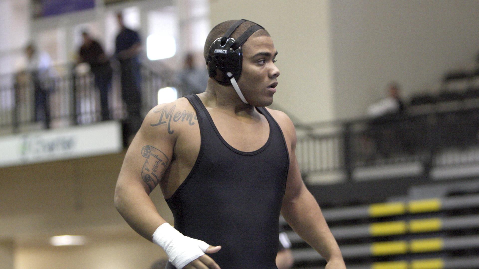 Deron Winn wrestles for Lindenwood University (photo credit: Don Adams Jr.)