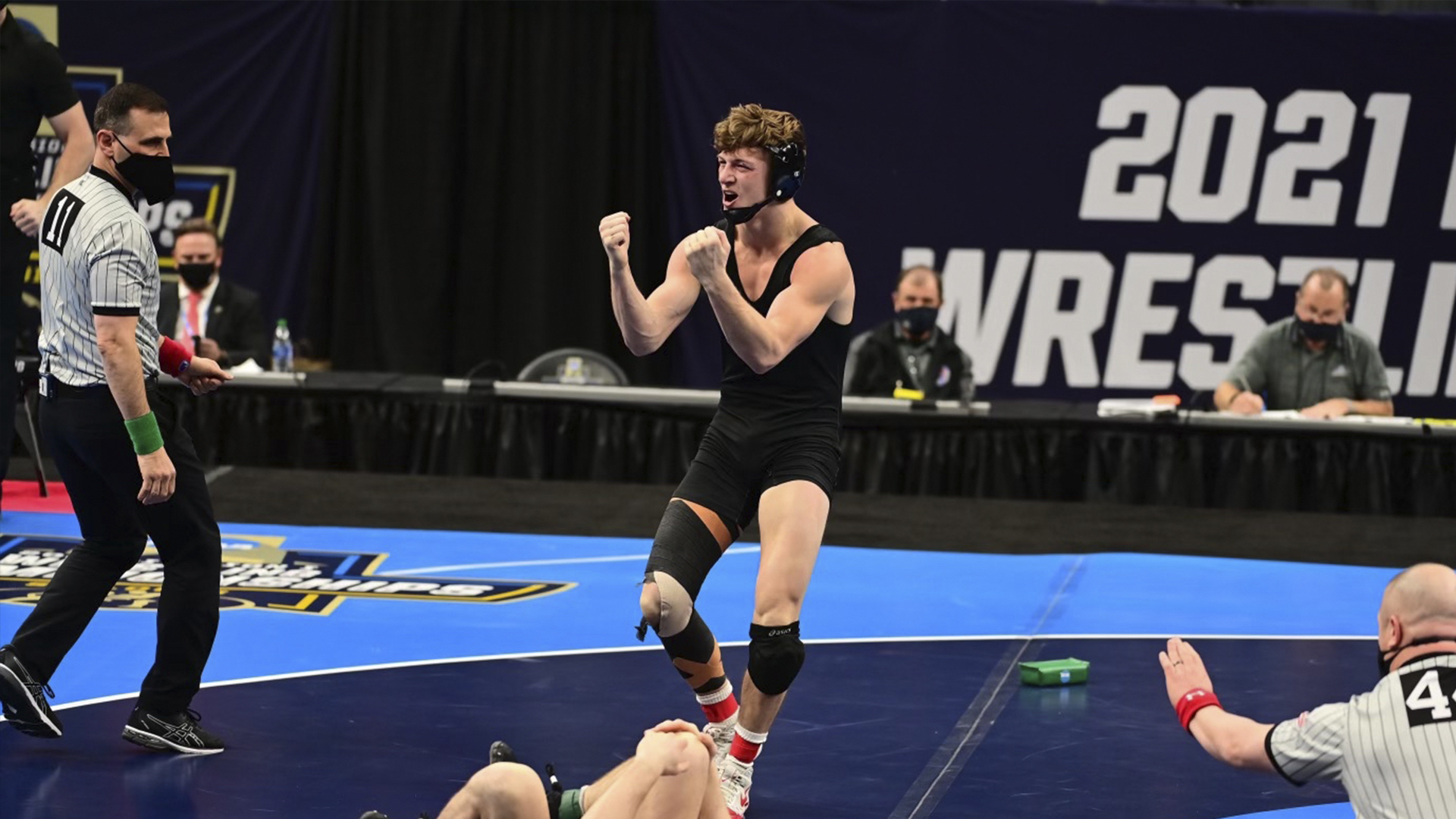 Shane Griffith celebrates at the NCAA Wrestling National Championships.
