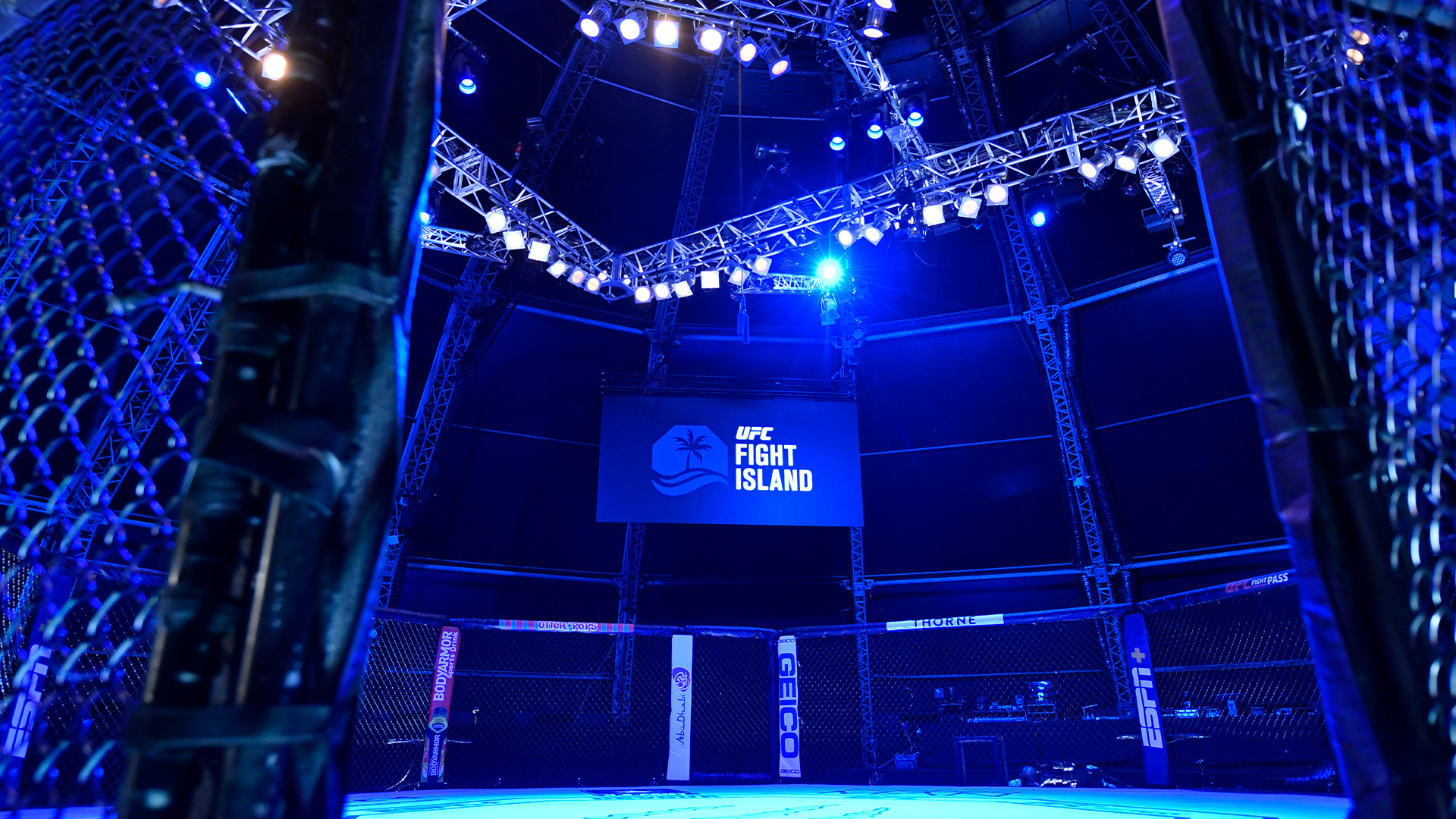 A general view of the Octagon prior to the UFC Fight Night event inside Flash Forum on UFC Fight Island on July 26, 2020 in Yas Island, Abu Dhabi, United Arab Emirates. (Photo by Jeff Bottari/Zuffa LLC)